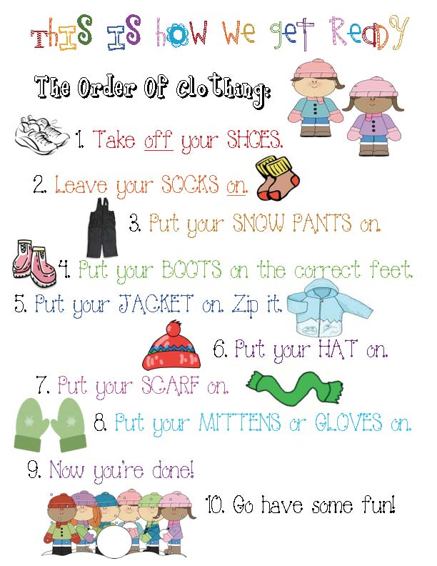 classroom management, classroom posters, getting dressed for winter, winter clothing, getting dressed for recess, order of how you put on winter clothing, poster of how to put on winter clothing,