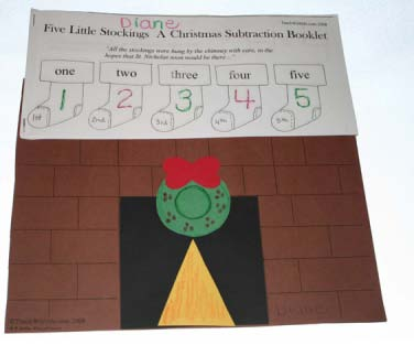 FREE common core lessons, math centers, subtraction activities, stocking activities, math booklet, ordinal numbers, counting booklet, December activities, Santa activities, stocking lesson,