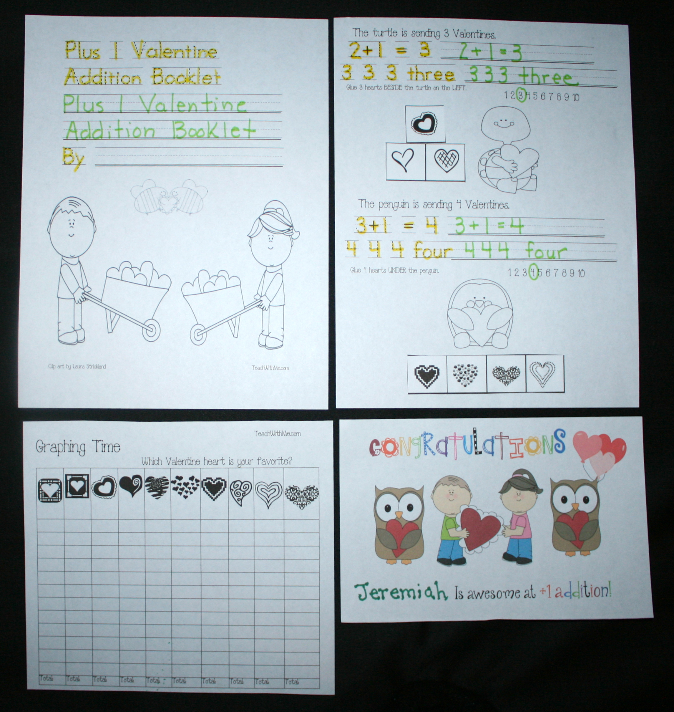addition activities, free common core math lessons for kindergarten, free common core math lesson for 1st grade, addition booklet, +1 addition activities, snowman booklet, snowflake booklet, counting booklets for winter, Valentine booklet, graphing activities, Valentine math activities, Valentine lessons,