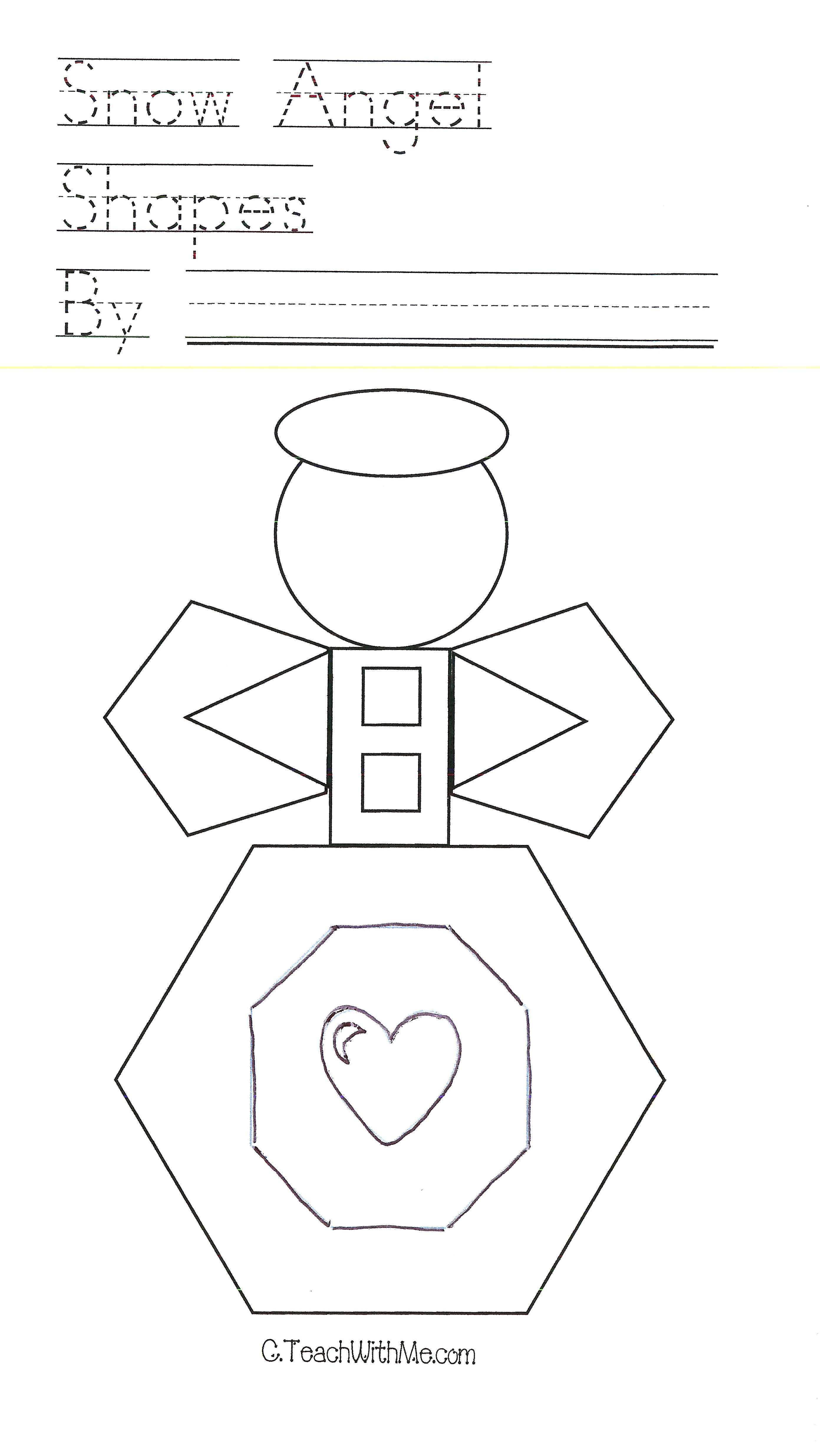 FREE common core lessons, shapely angels, snow angels, shape activities, hexagon, octagon, pentagon activities, shape booklet, common core lessons for kindergarten, common core lessons for 1st grade,