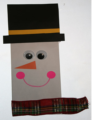 Snowman envelope puppet, winter art projects for kids, January art projects for preschool kindergarten and first grade