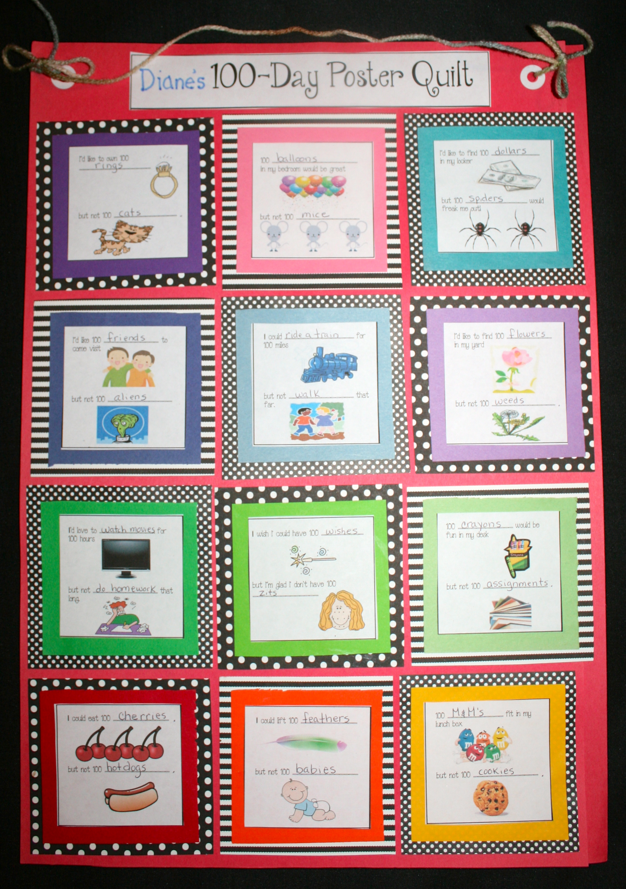 free common core lessons for kindergarten, free common core lessons for 1st grade, 100 day ideas, 100 day lessons, 100 day activities, 100 day writing prompts, 100 day quilt, 100 day posters, winter writing prompts, 100 day bulletin boards, 100 day bulletin board ideas,
