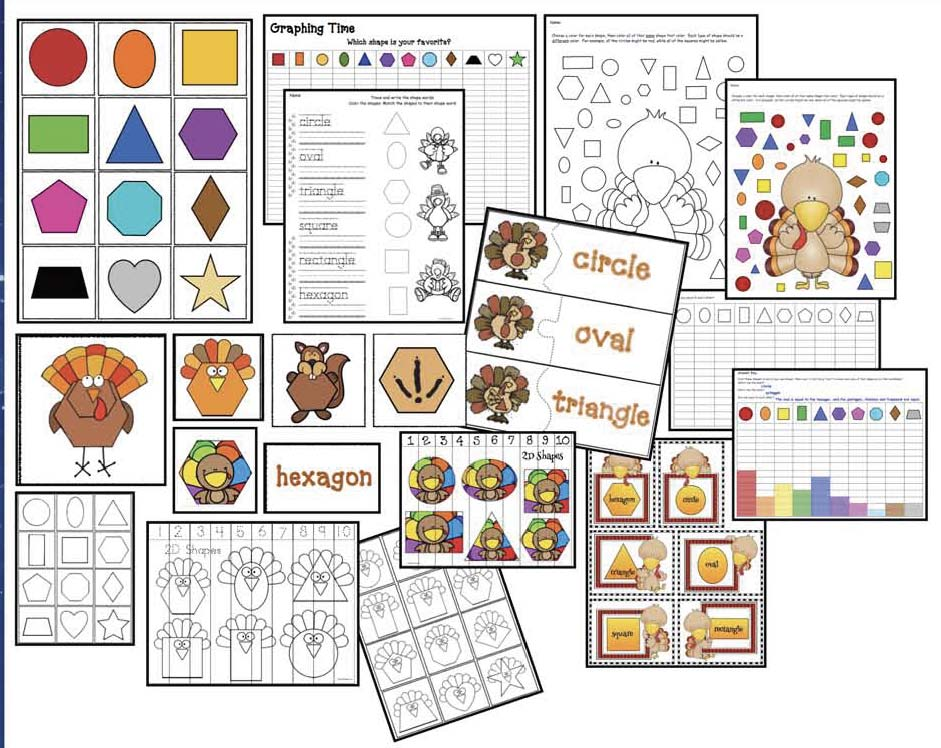 shape activities, shape games, shape centers, 2D shape assessments, turkey activities, turkey games, turkey centers