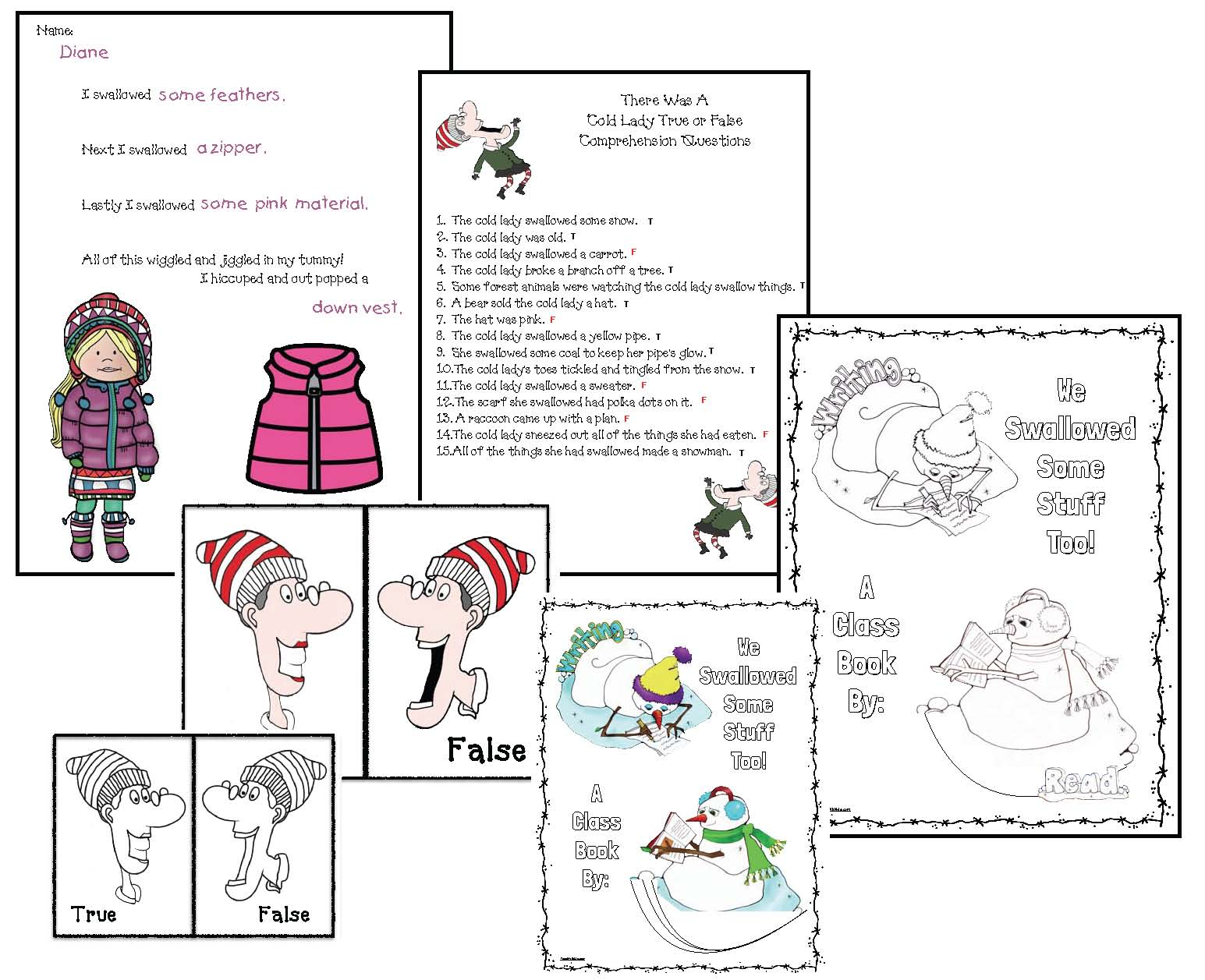 activities for there was a cold lady who swallowed some snow, activities for winter books, sequencing a story activities, retelling a story activities, common core standards for there was a cold lady who swallowed some snow, favorite winter books