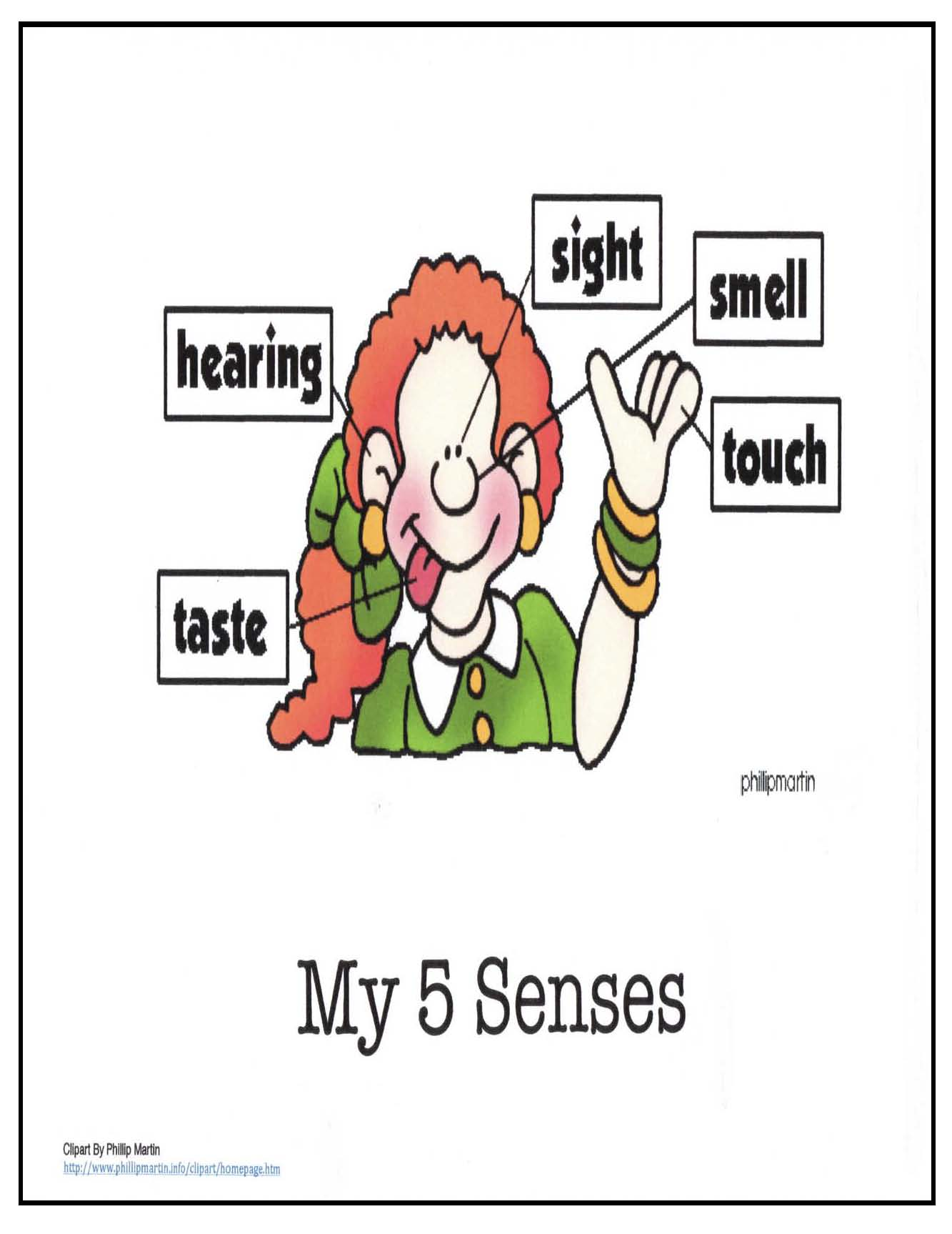 5 senses anchor chart