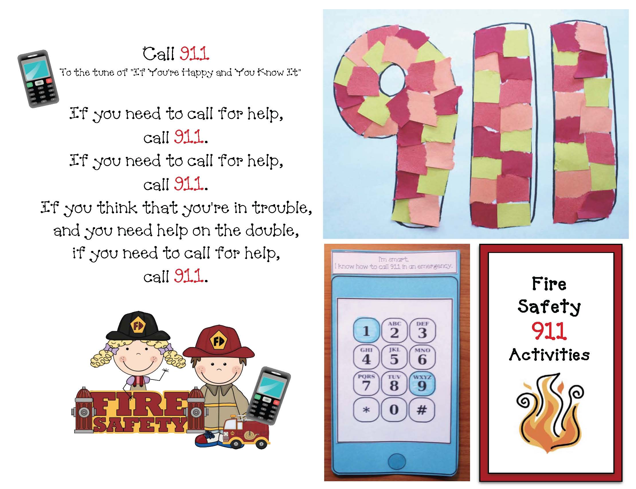 911 activities, fire safety activities, fire safety crafts, dialing 911 crafts, fire safety songs, fire safety crafts