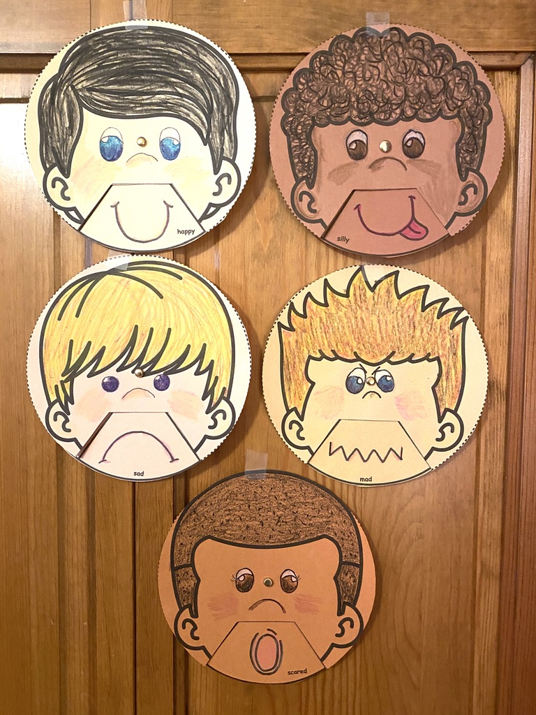 Boy feelings wheels showing 5 feelings, feelings crafts, feel wheel, dealing with feelings, emotions, teaching about feelings, teaching about emotions, feelings posters, feelings activities, graphing how you feel, classroom management