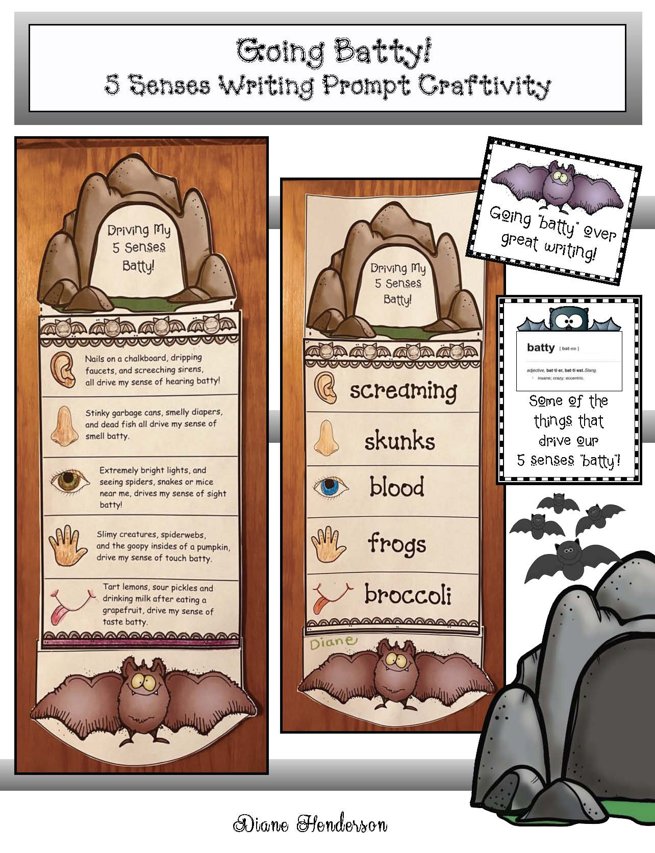 bat activities, bat crafts, bat writing prompts, 5 senses activities, 5 senses crafts, 5 senses writing prompts, literacy centers, October writing prompts, October bulletin board ideas