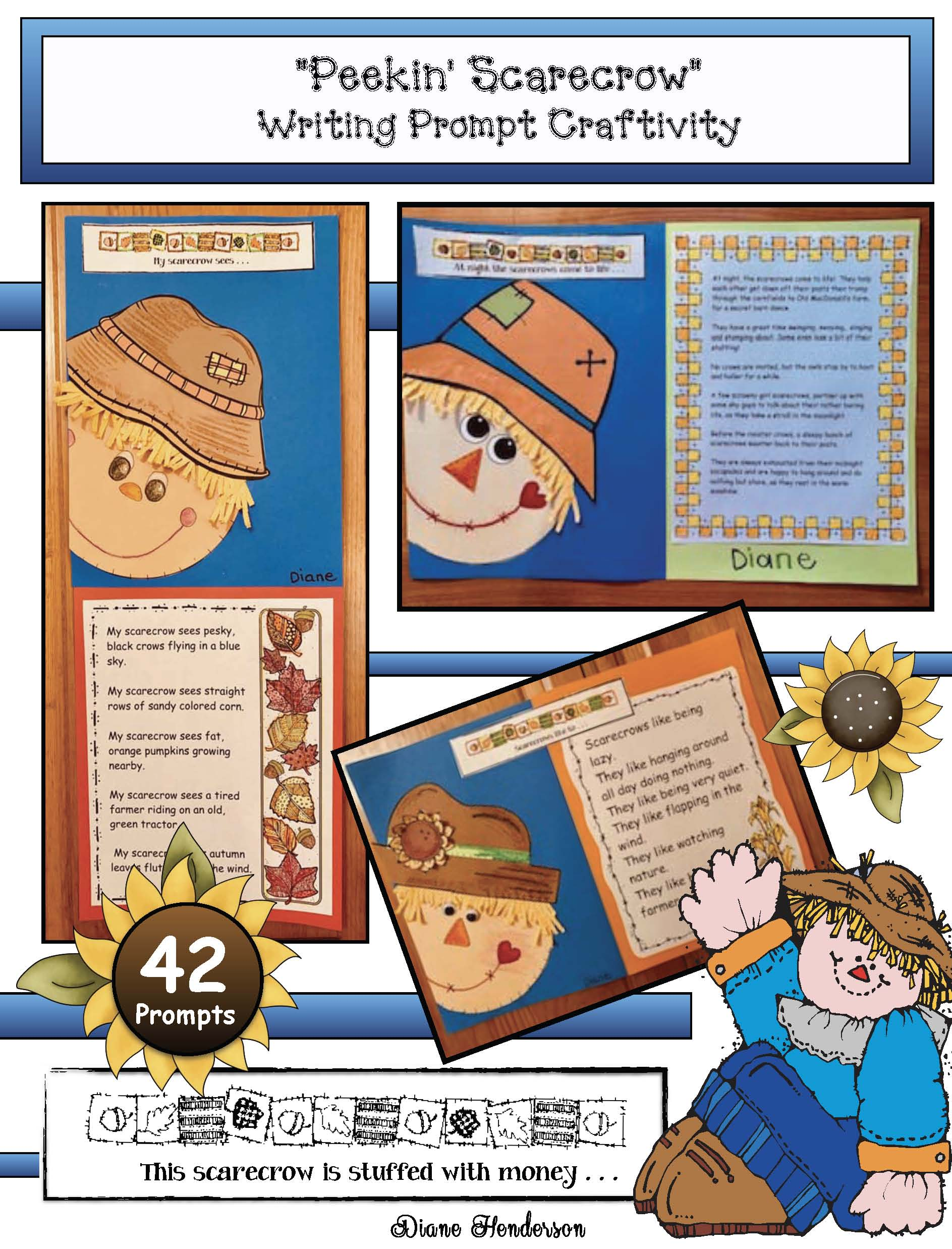 scarecrow acticities, scarecrow crafts, October writing prompts, November writing prompts, fall bulletin board ideas, October bulletin board ideas, November bulletin board ideas
