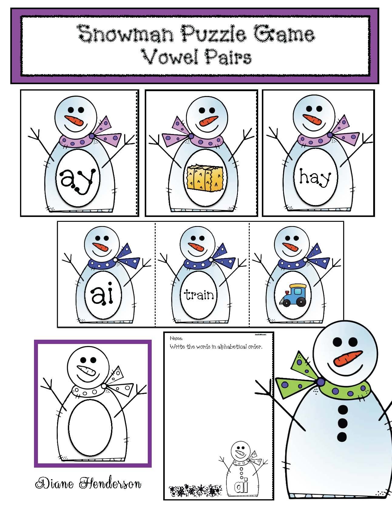 domino math activities, snowman activities, snowman crafts, analog and digital time activities, snowman clocks, snowman centers, snowman worksheets, vowel pair activities