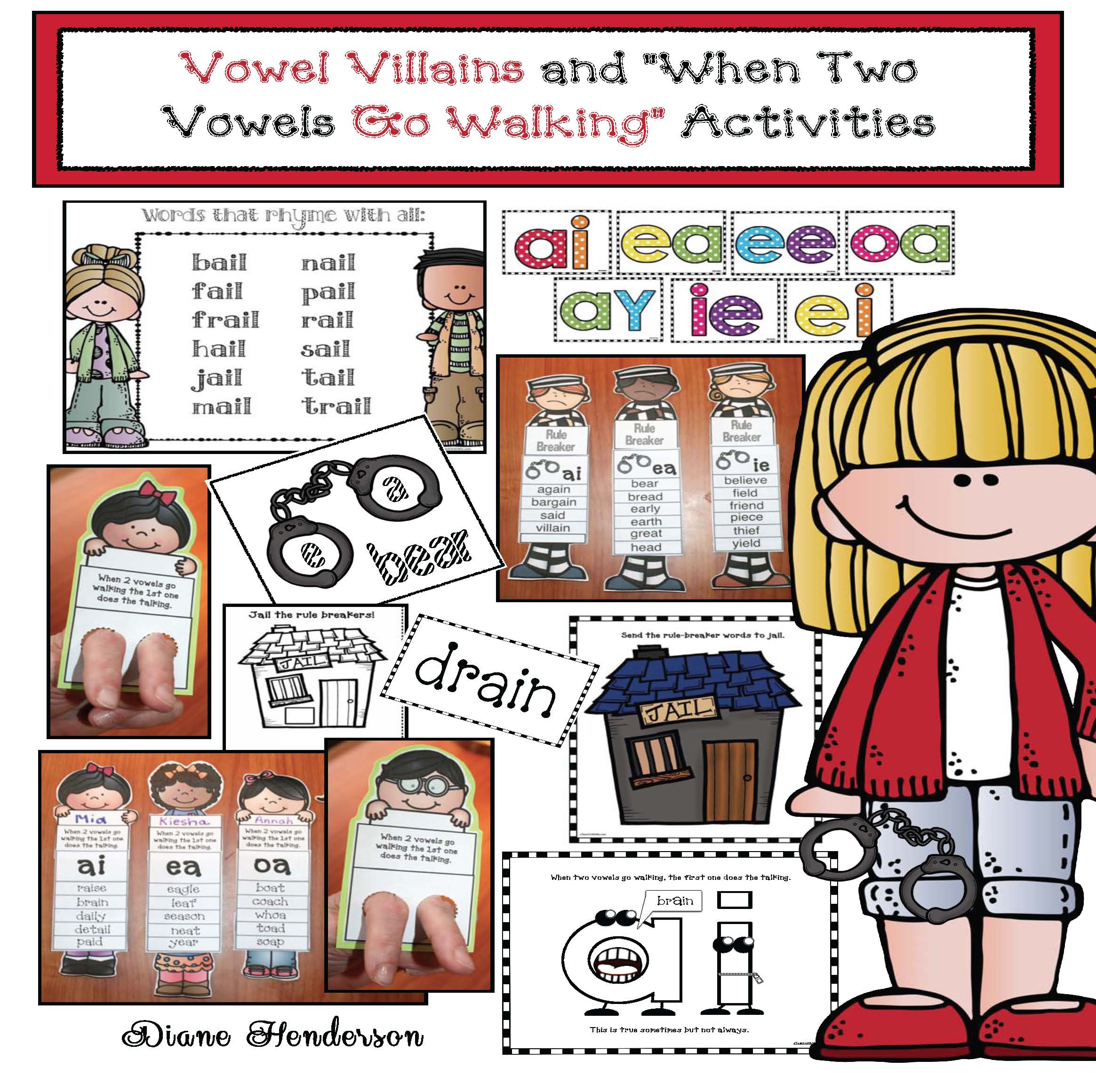 2 vowels go walking activities, 2 vowels go walking posters