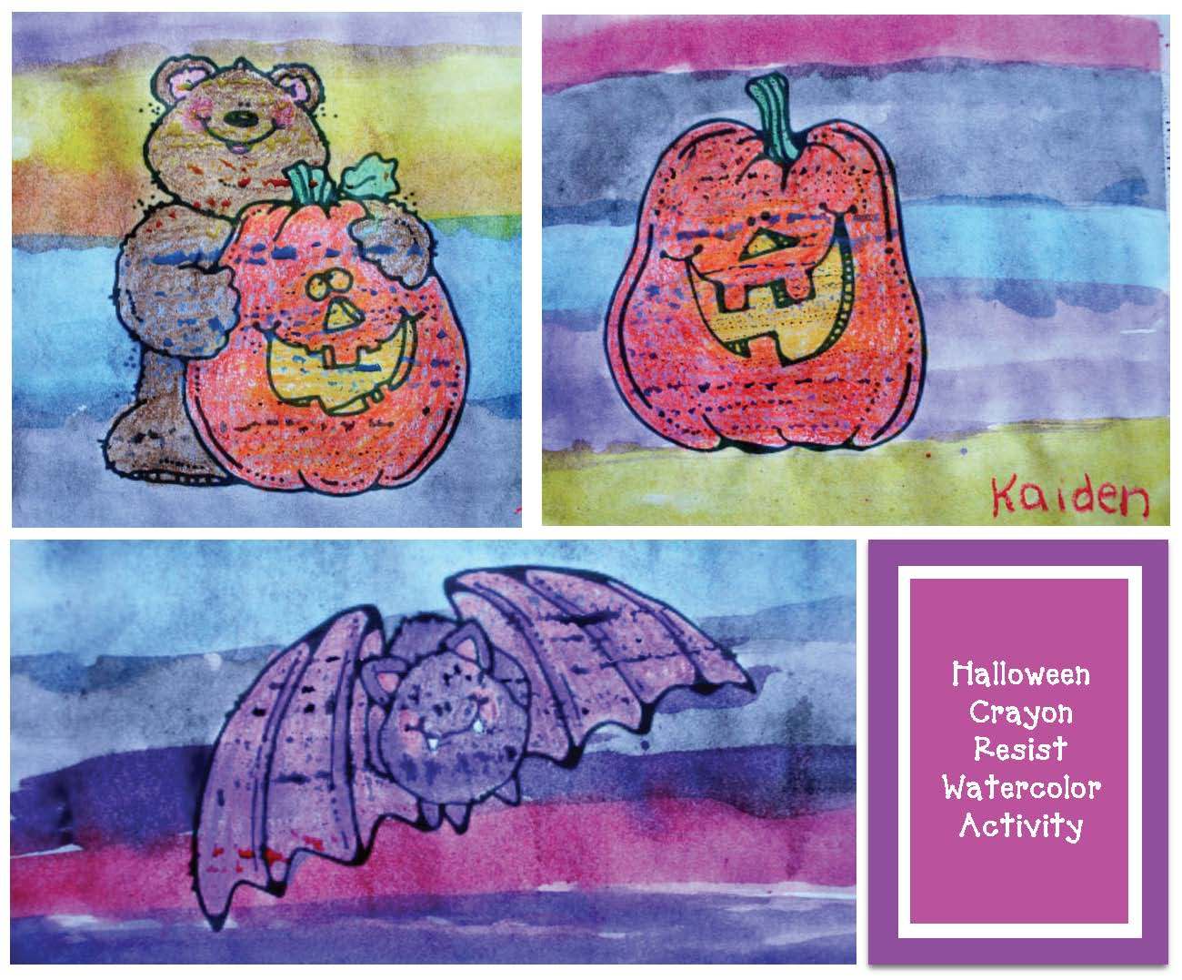 Halloween crayon resist watercolors, halloween bulletin board ideas, halloween crafts, halloween party day activities