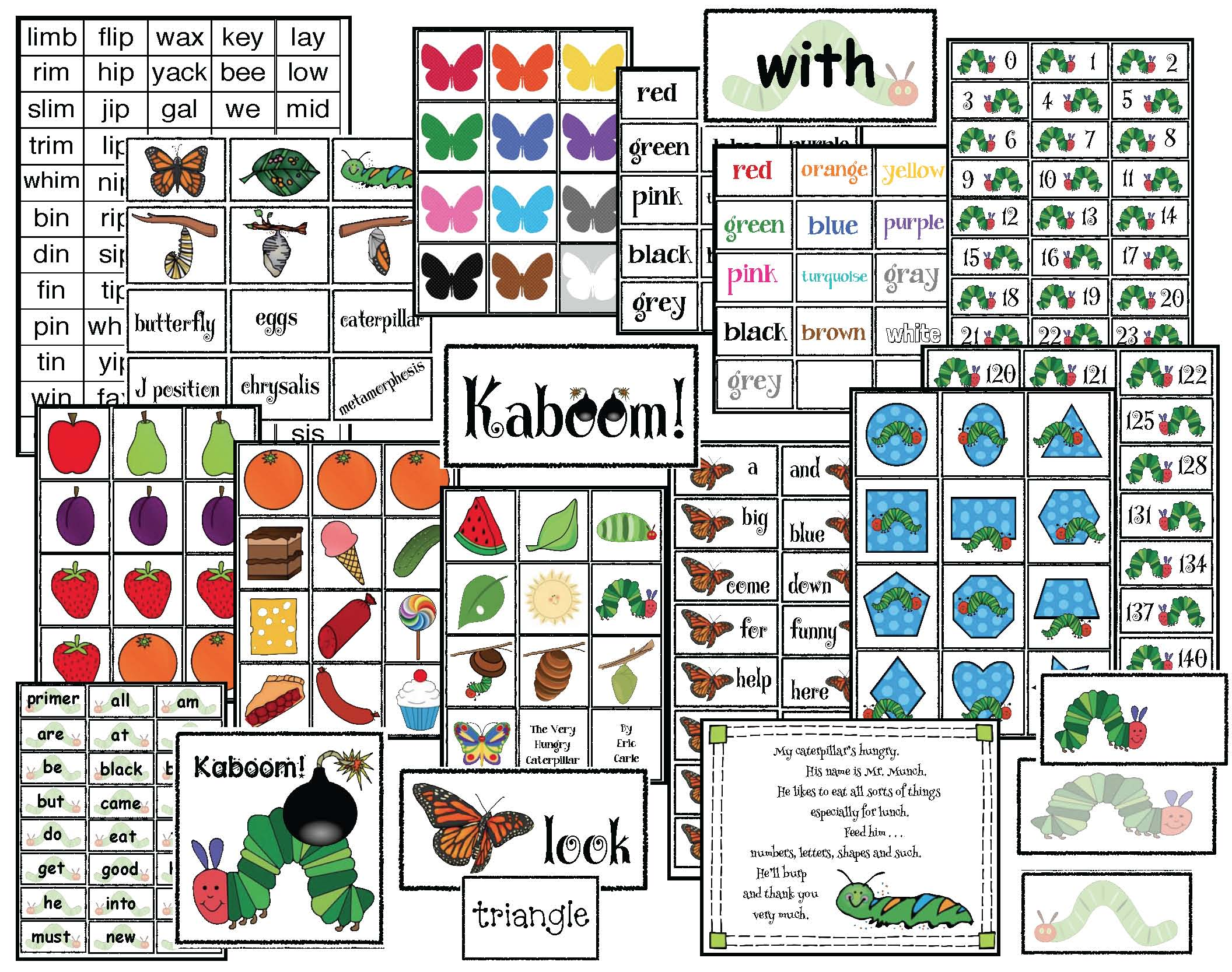 caterpillar activities, caterpillar crafts, the very hungry caterpillar activities, 2D shape activities, alphabet cards, days of the week activities, Mother's Day activities, mothers day crafts