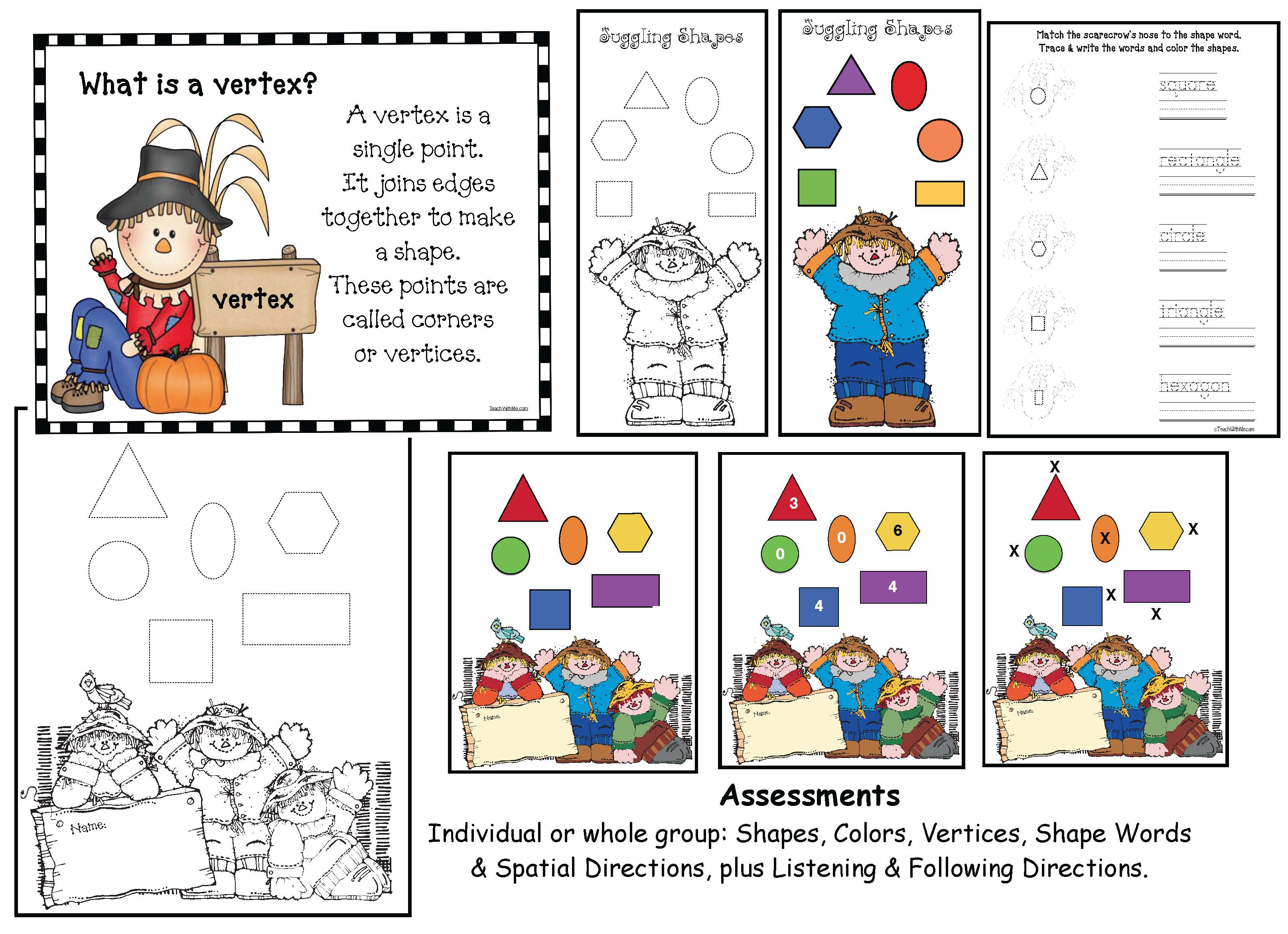 scarecrow crafts, scarecrow activities, shape activities, shape crafts, shape assessments, fall centers, owl activities, emergent reader booklets, owl activities, owl crafts, shape games, shape assessments