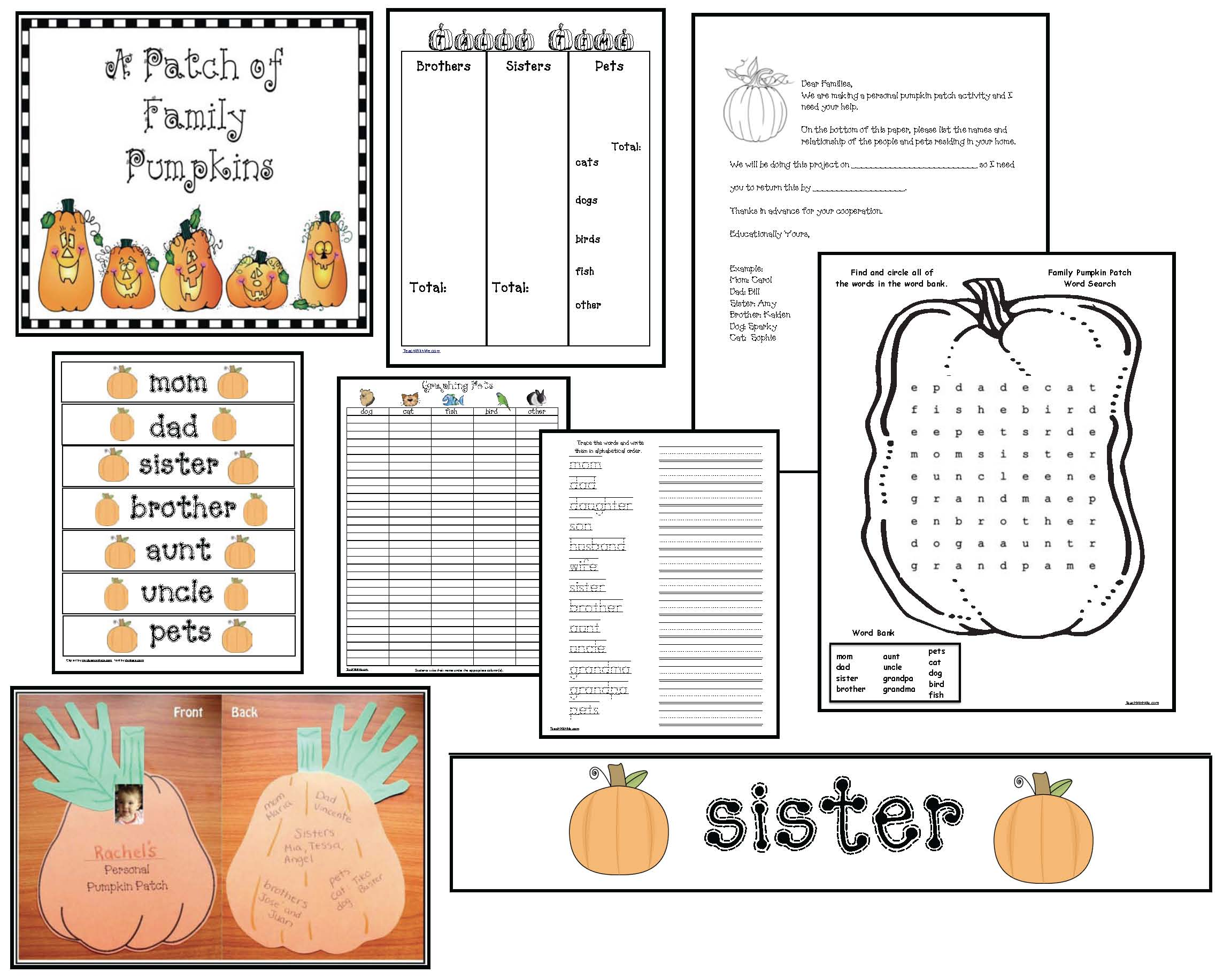 pumpkin activities, pumpkin crafts, fall bulletin board ideas, family pumpkins, pumpkin patch activities, activities for family words
