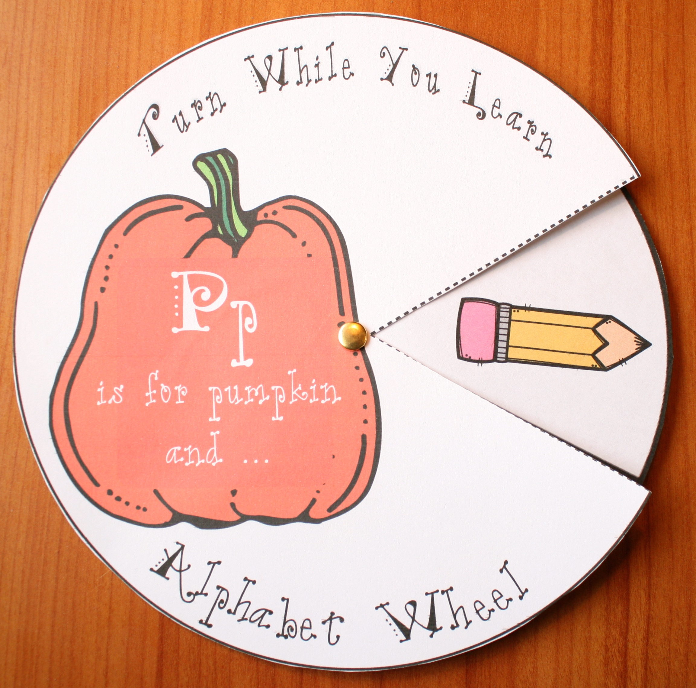 P is for pumpkin alpha wheel, alphabet wheels, words that begin with P, P nouns, alphabet crafts, letter crafts, alphabet emergent readers, letter p worksheets,