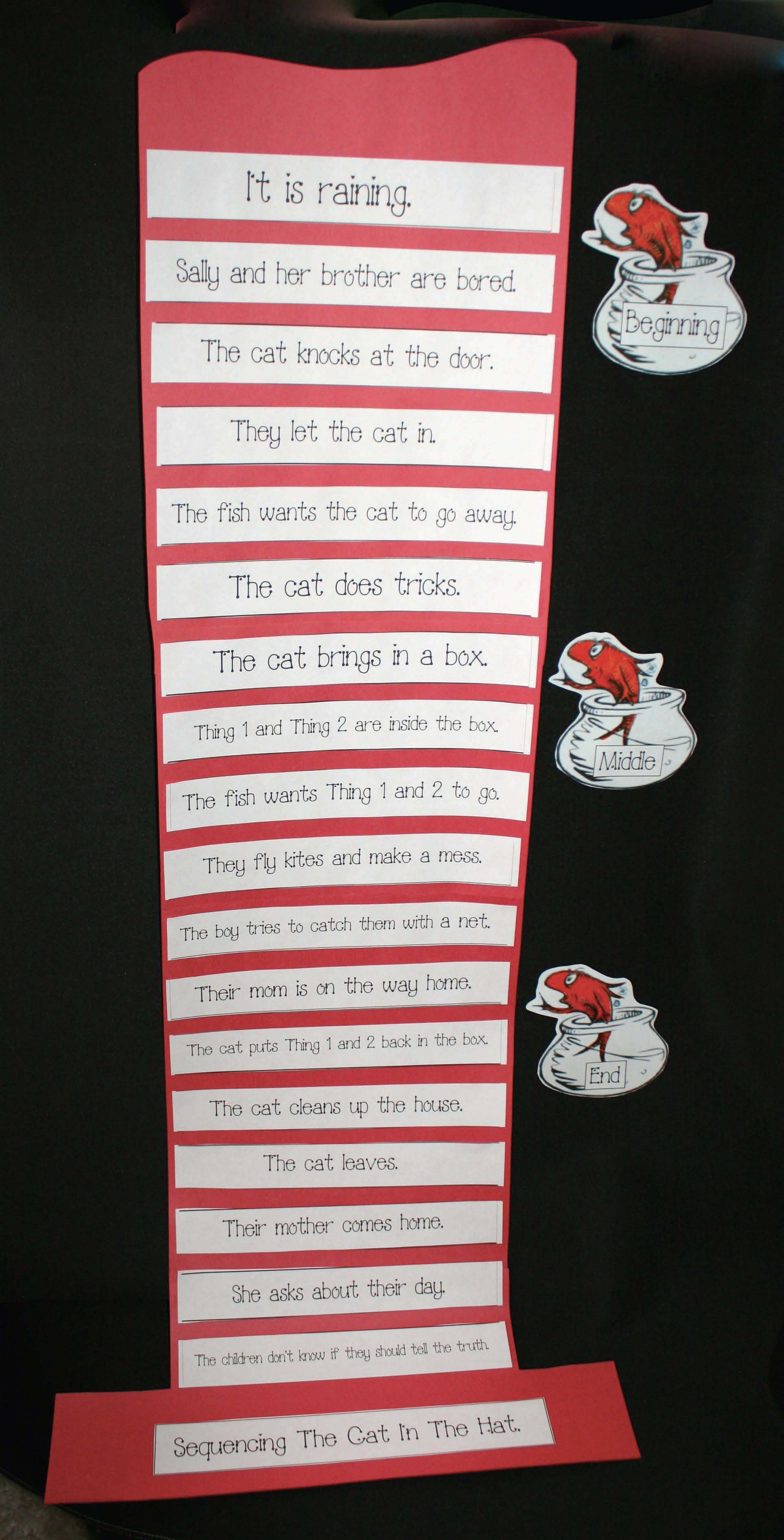 cat in the hat activities, cat in the hat crafts, read across america activities, read across america bulletin boards, seuss activities, seuss crafts, sequencing and retelling the cat and the hat
