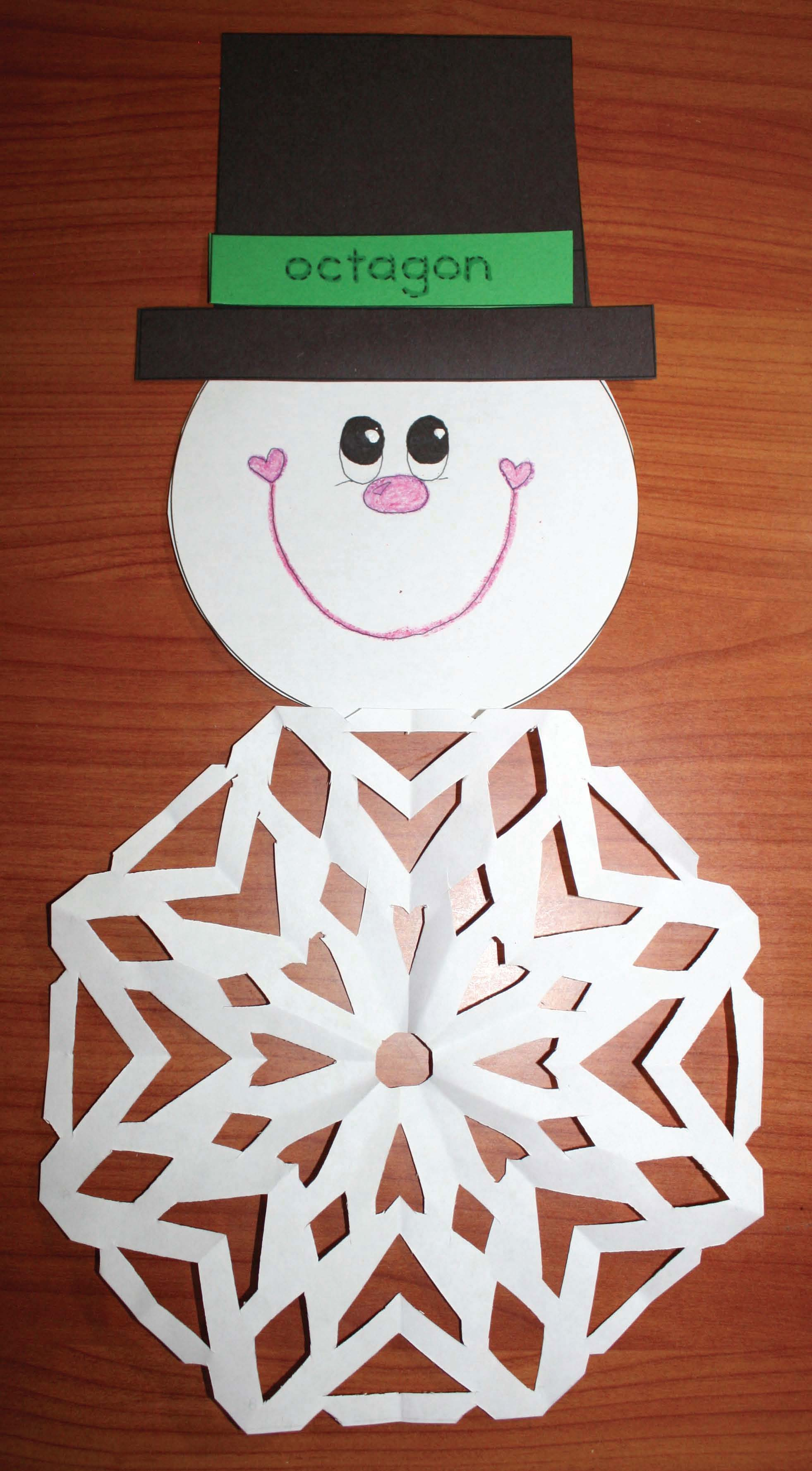 snowflake activities, snowflake crafts, snowman crafts, snowman activities, january bulletin board ideas, directions for cutting snowflakes, snowflake patterns, 2D shape activities, 2D shape crafts