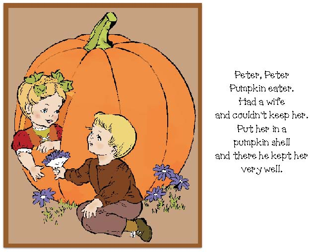 Peter peter pumpkin eater nursery rhyme activites, pumpkin crafts