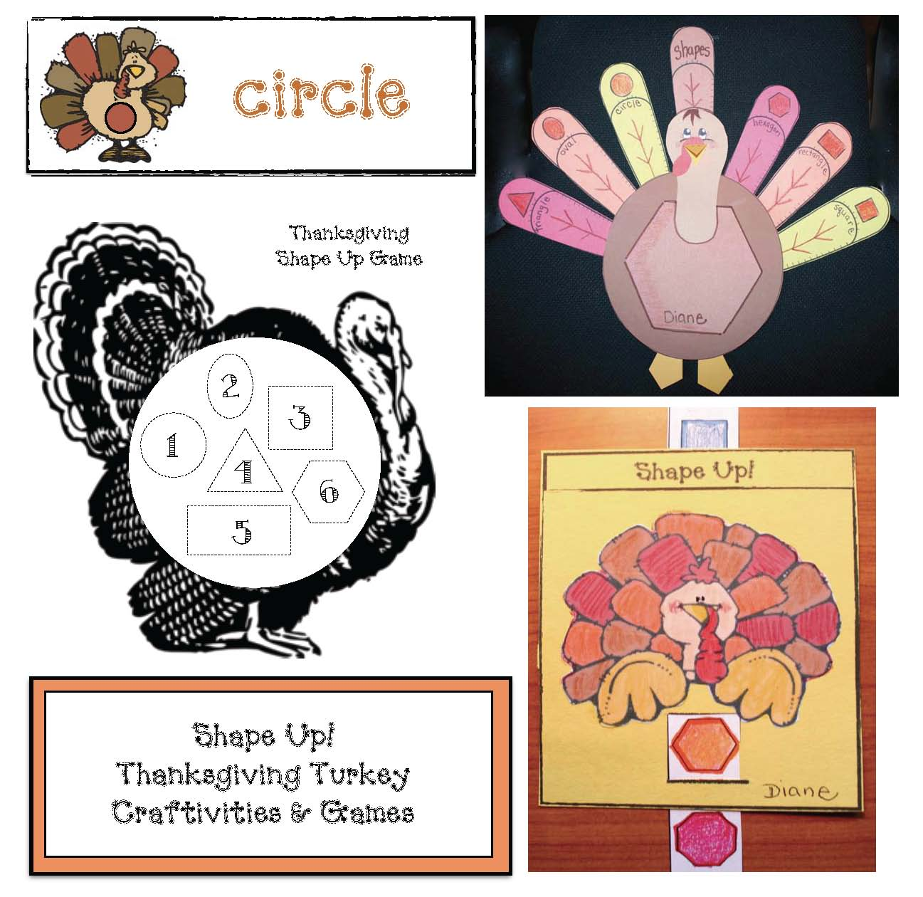 Thanksgiving Shape Up Packet Thanksgiving games, thanksgiving crafts, turkey activiteis, turkey crafts, 2D shape crafts, 2D shape activities