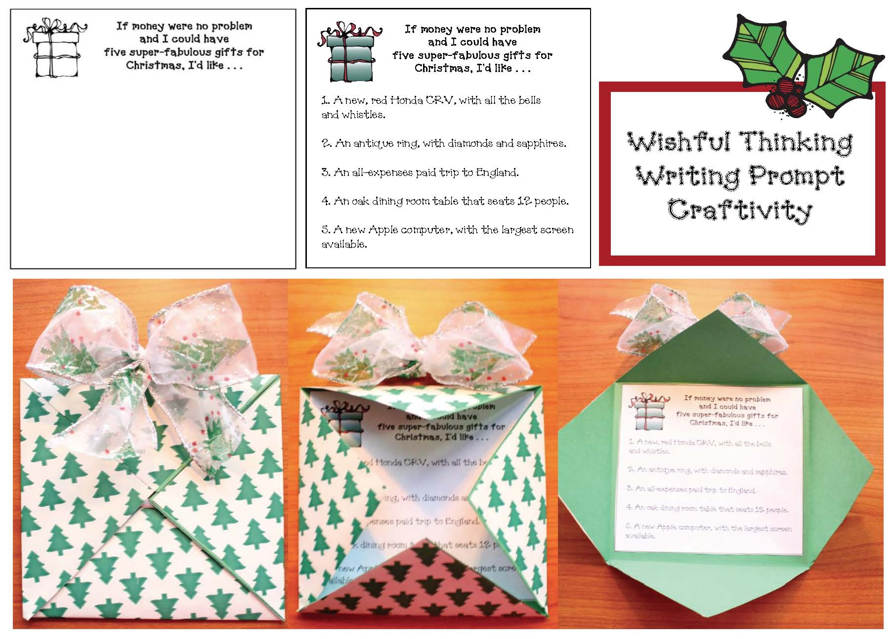 Wishful Thinking writing prompt, writing prompts for December, December activities, December bulletin board ideas