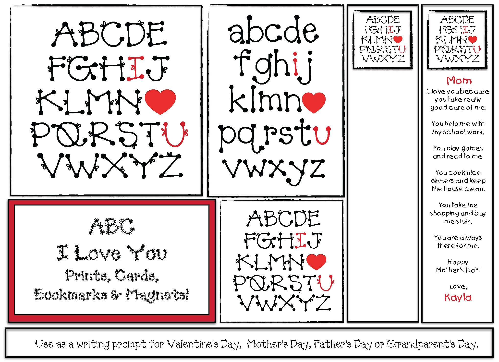abc i love you, valentines day crafts, valentines day activities
