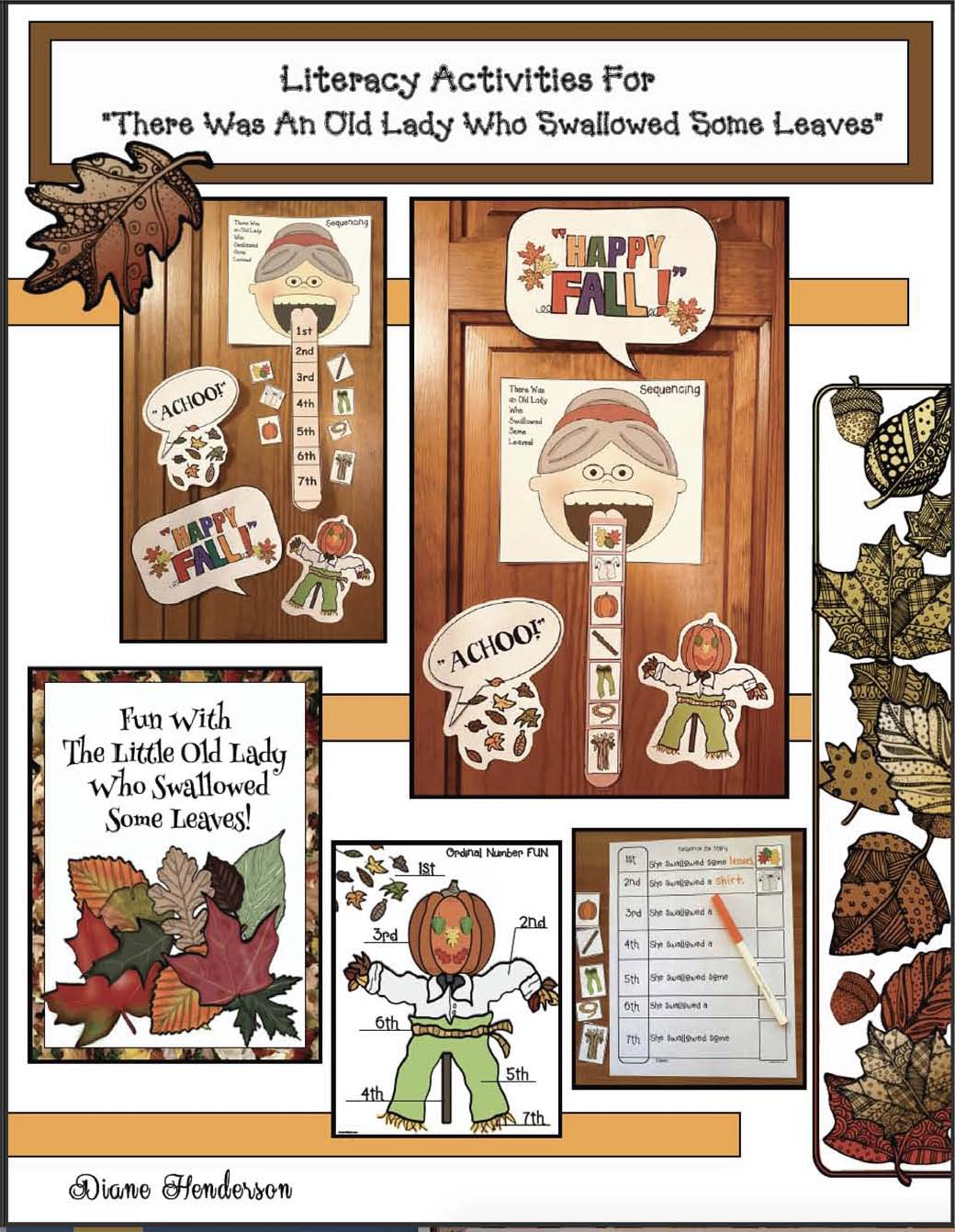 activities for the little old lady who swallowed some leaves, the little old lady who swallowed some leaves, activities for there was an old lady, fall bulletin board ideas, fall writing prompts, sequencing & retelling a story activties, literacy centers for fall