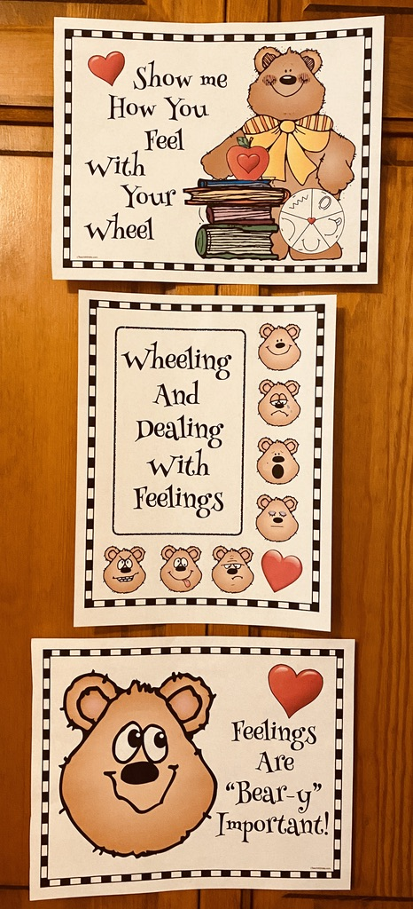 bear themed feelings posters, feelings crafts, feel wheel, dealing with feelings, emotions, teaching about feelings, teaching about emotions, feelings posters, feelings activities, graphing how you feel, classroom management