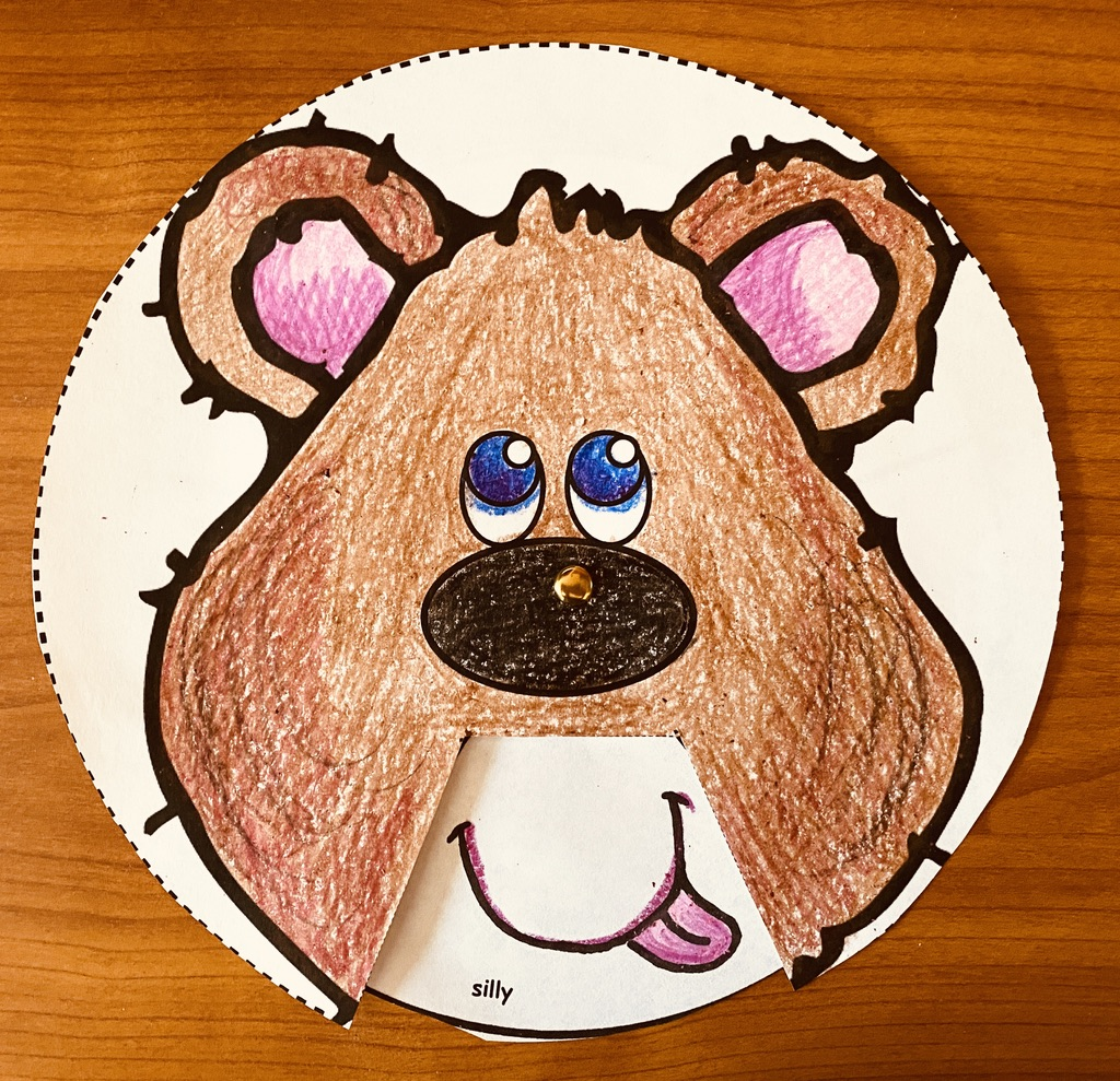 bear themed feelings wheel, feelings crafts, feel wheel, dealing with feelings, emotions, teaching about feelings, teaching about emotions, feelings posters, feelings activities, graphing how you feel, classroom management