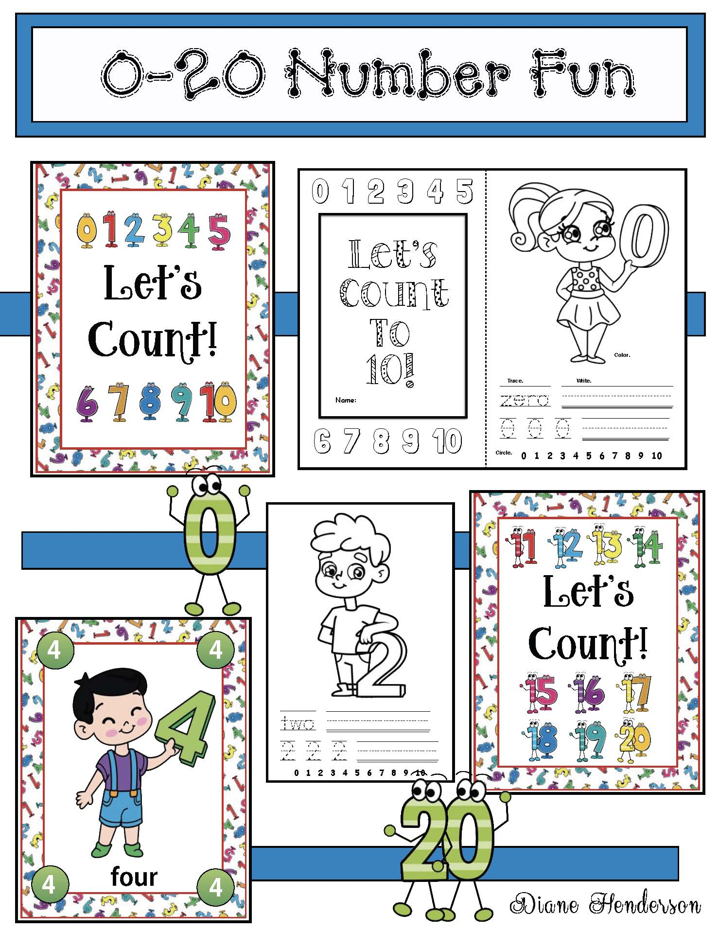 0-20 number activities, counting activities, counting b ooklet, number posters, number games, math centers, apple activites