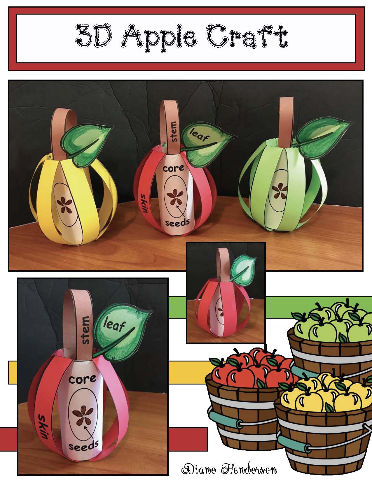 apple crafts, apple centers, apple bulletin boards, melted crayon activities, label an apple activities, 3D apple craft, apple centerpieces