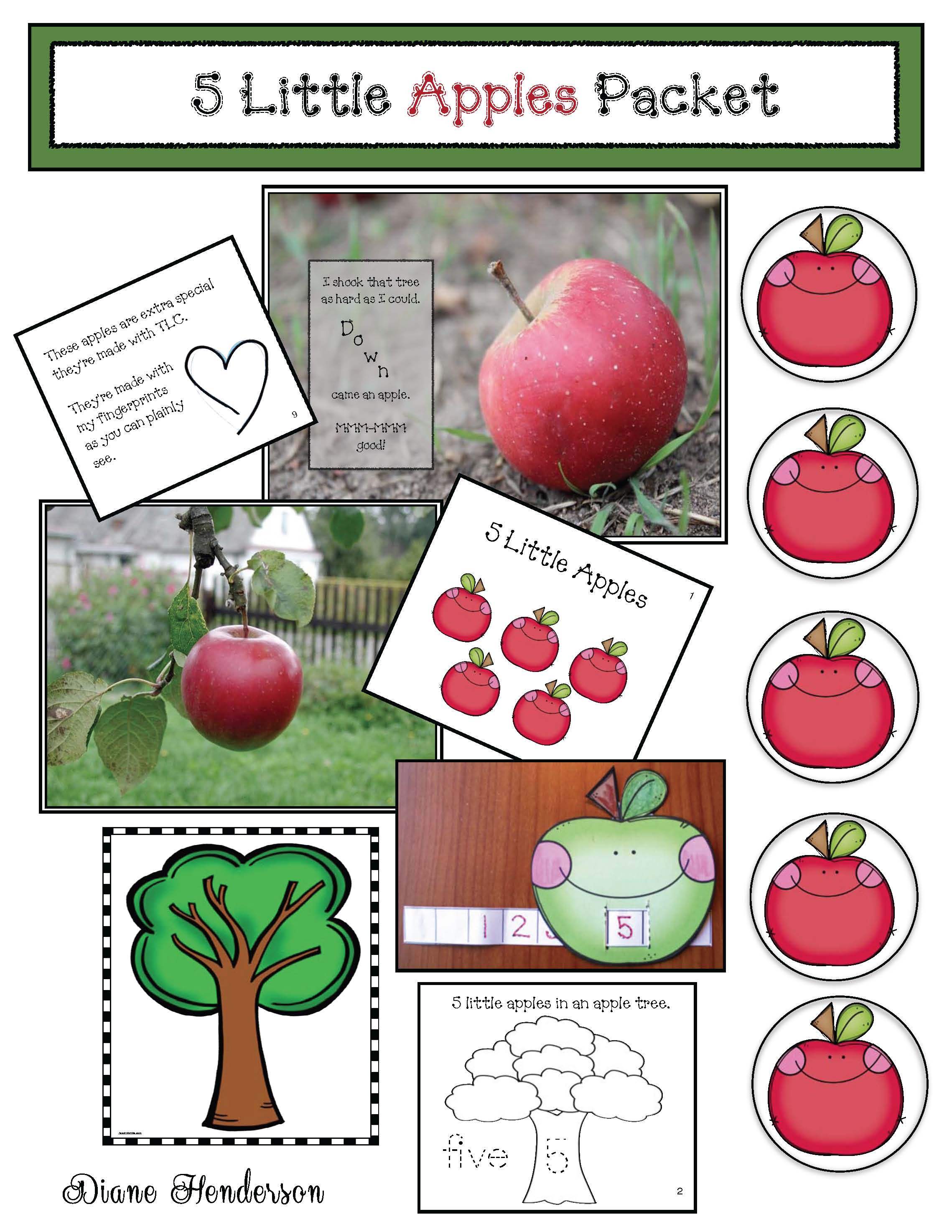 5 little apples in an apple tree song, apple activities, apple songs, apple crafts, apple games, apple emergent readers,
