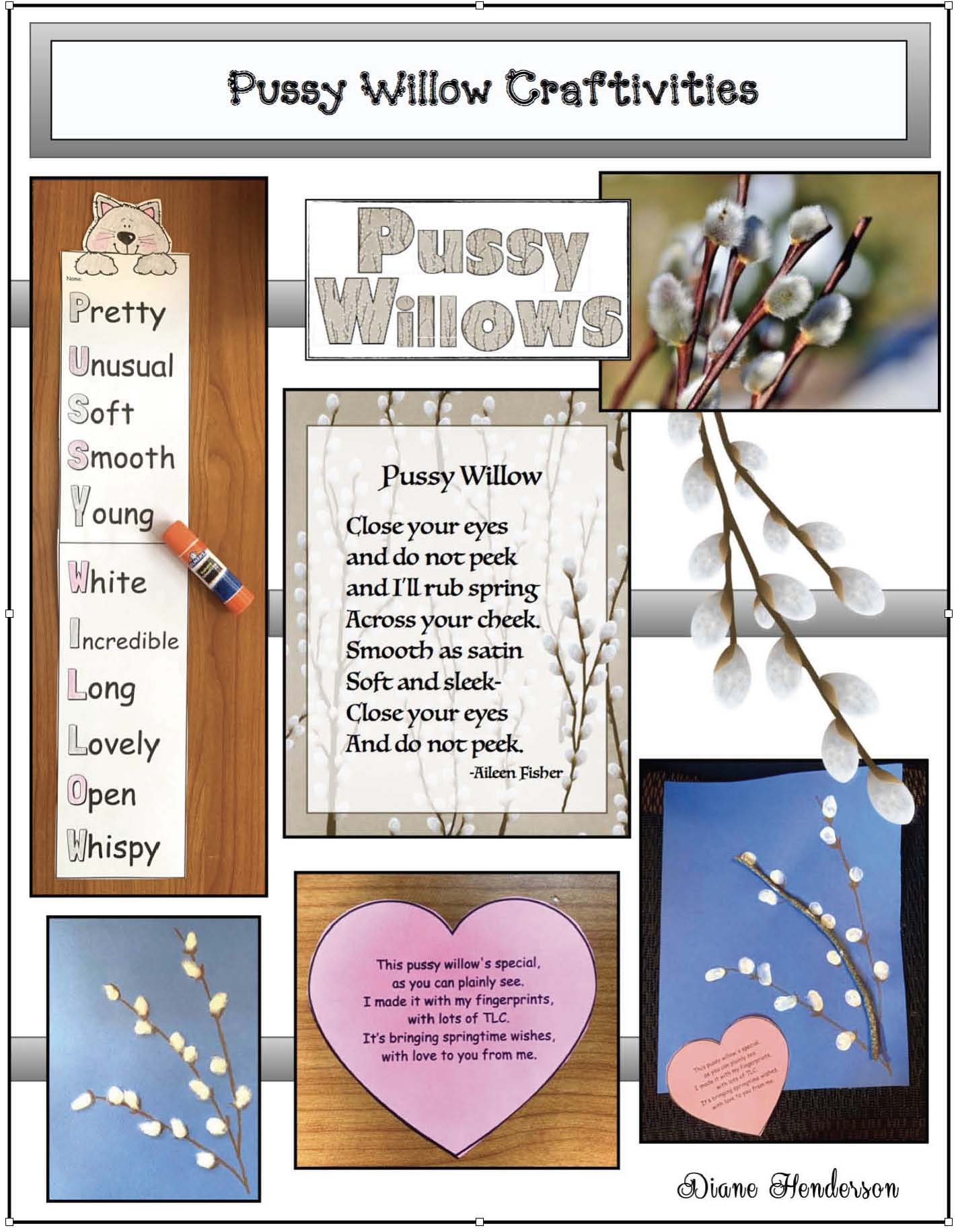 Pussy willow crafts, pussy willow poems, legend of the pussy willow, pussy willow activities, spring crafts for kids, keepsake crafts, fingerprint crafts
