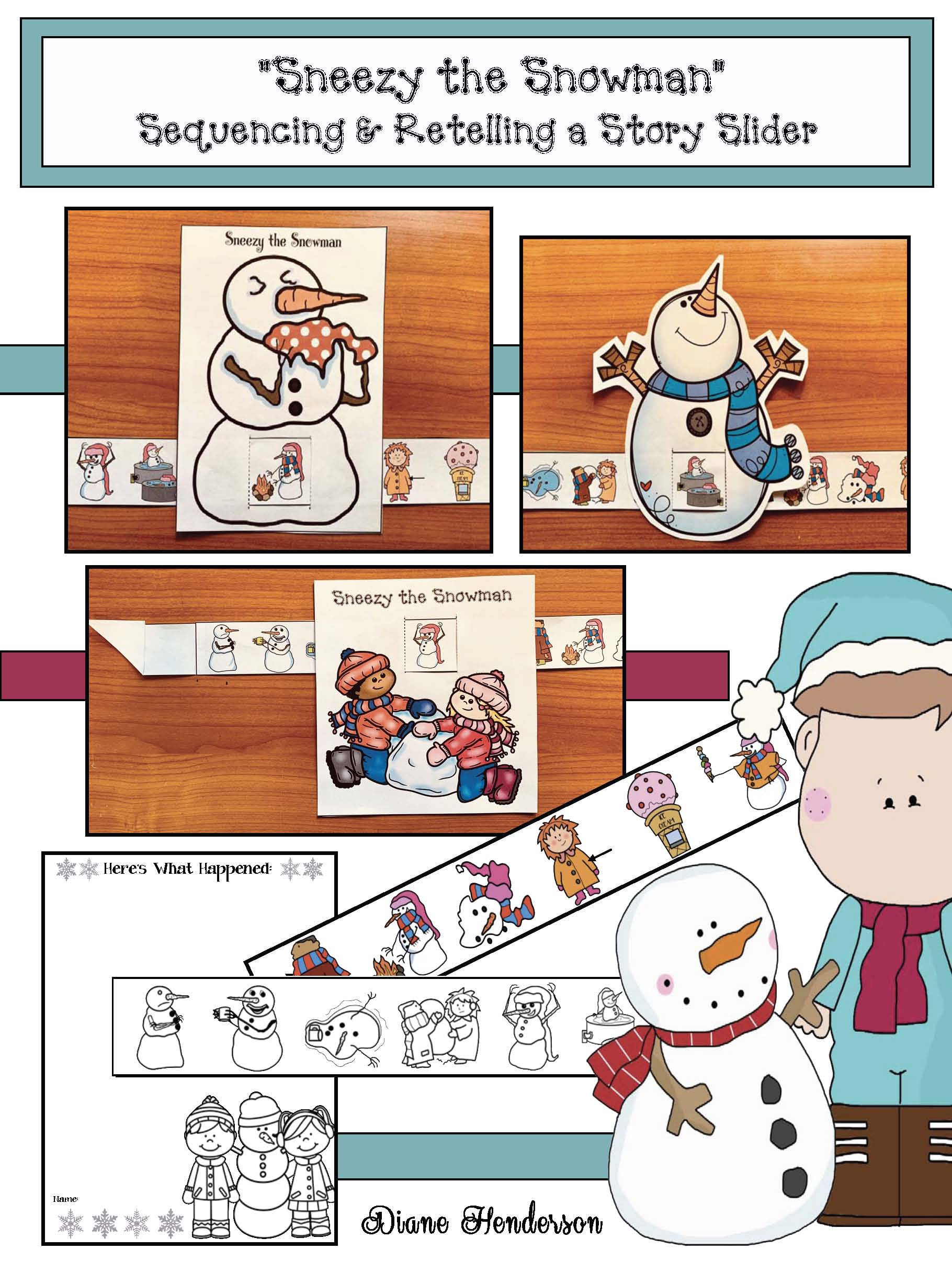sneezy the snowman, activities for sneezy the snowman, snowman crafts, retelling a story activities, sequencing a story activities