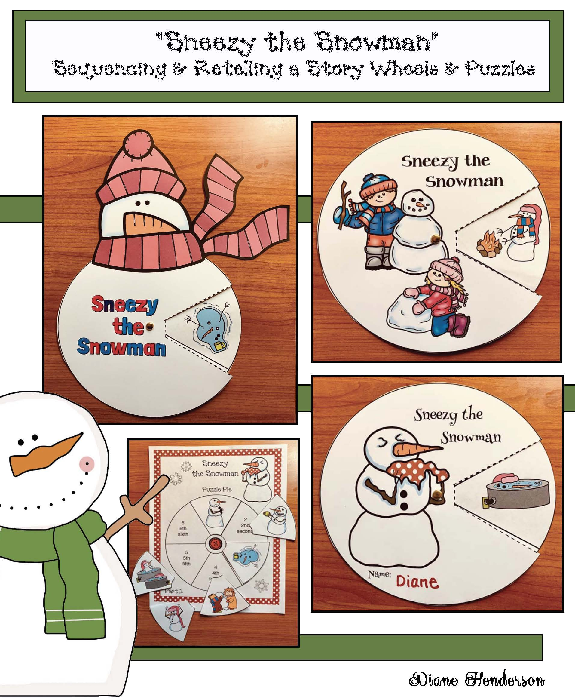 activities for sneezy the snowman, sneezy the snowman activities, snowman activities, snowman crafts, retelling and sequencing a story activities