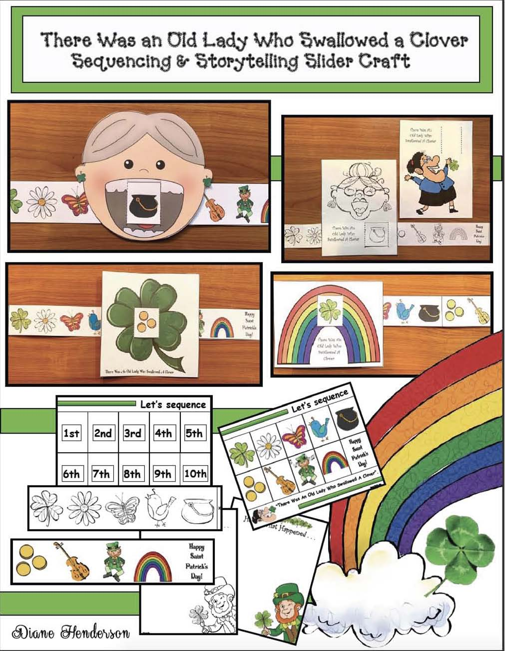 There was an old lady who swallowed a clover activities, retelling & sequencing a story activities, St. Patrick's Day books, St. Patrick's Day stories, St. Patrick's Day crafts