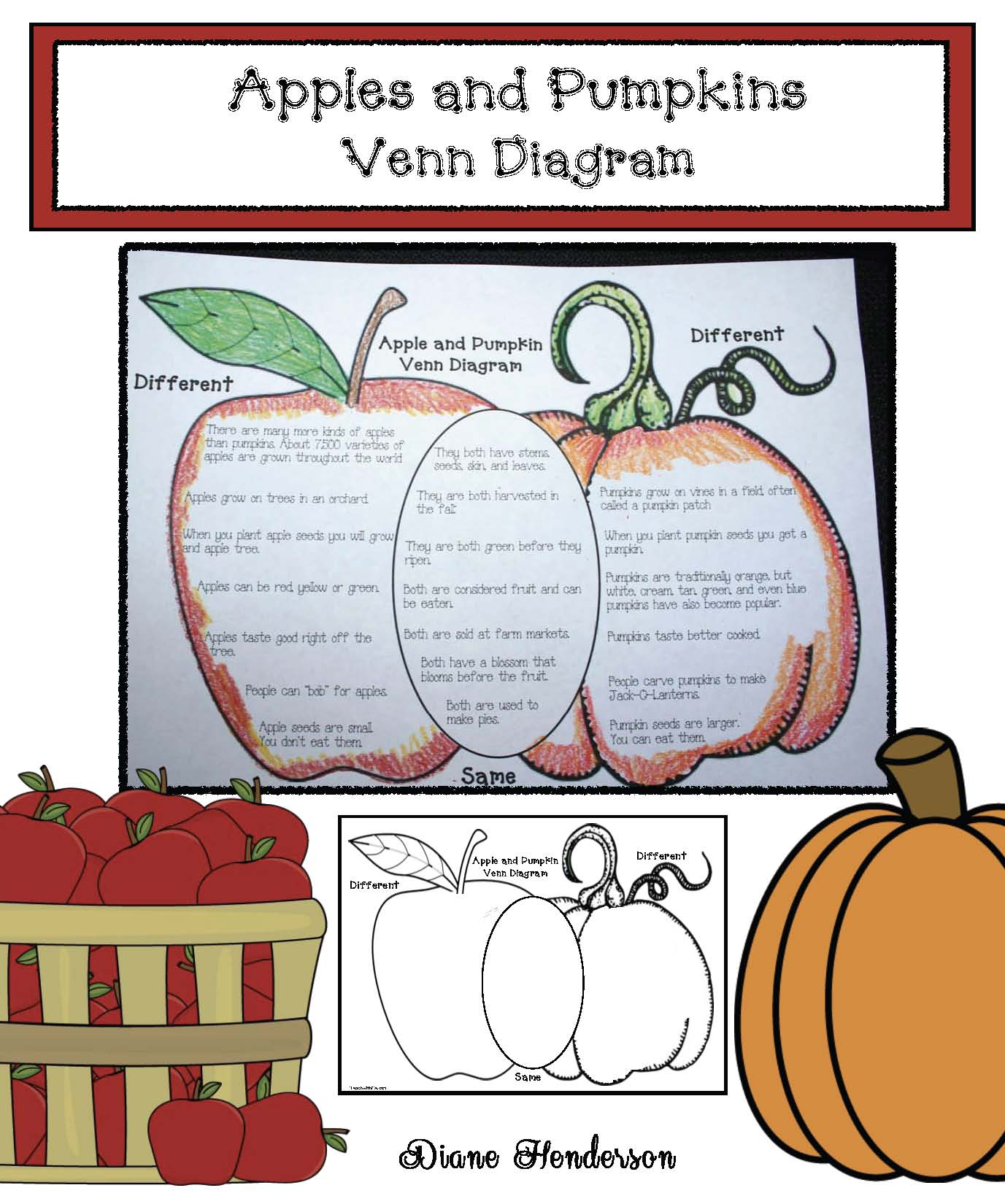 apples and pumpkin venn diagram, apple pumpkin worksheet