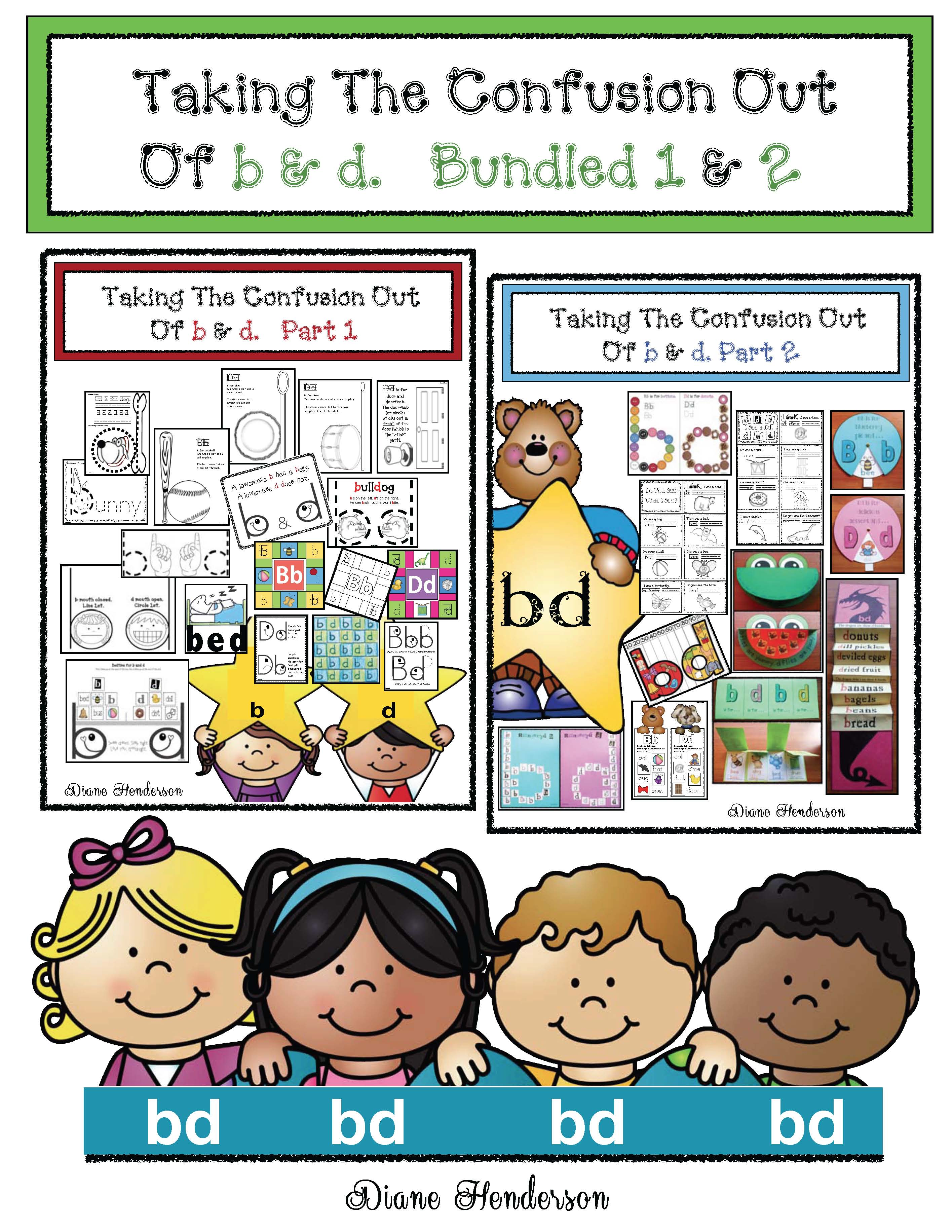 taking the confusion out of b and d, letter reversal tips, letter reversal posters, problems with b and d, confusing b and d solutions, alpahbet activities, alphabet games, alphabet assessments, alpahbet crafts, alphabet stories, alphabet songs,