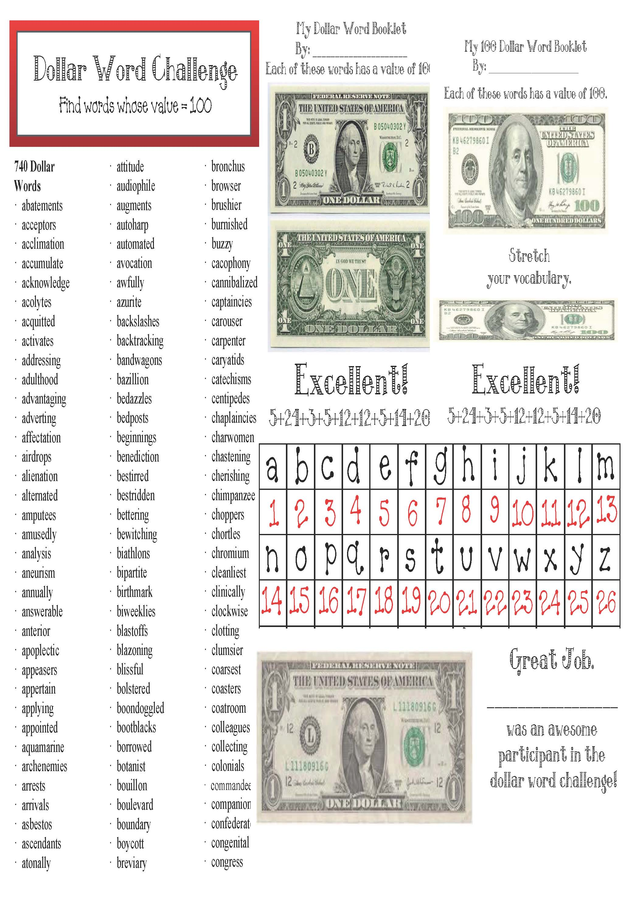 cov dollar words packet