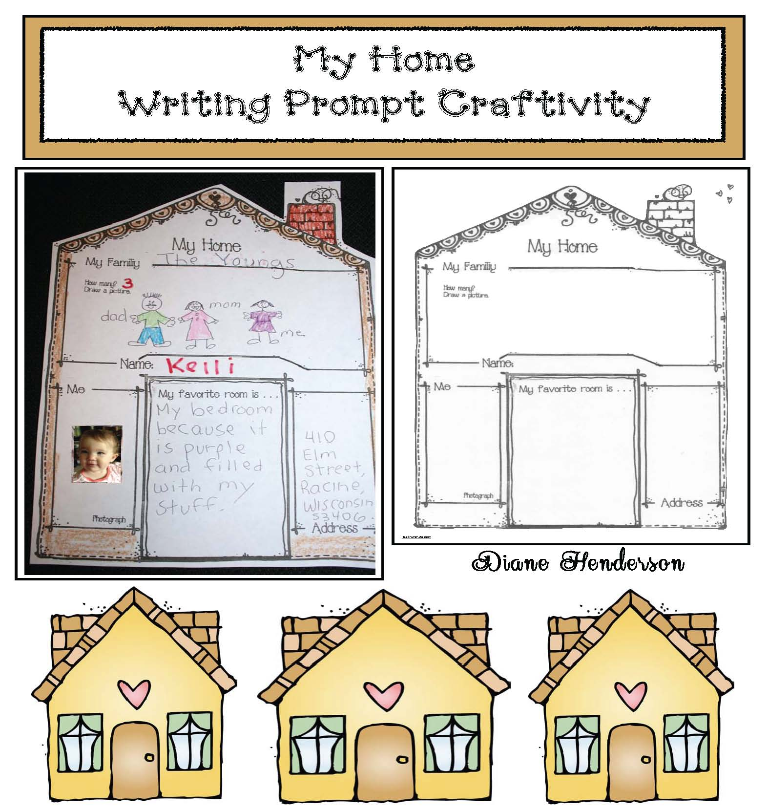 my home craft, my home writing prompt, learning your address activities, fire safety learning your address activities