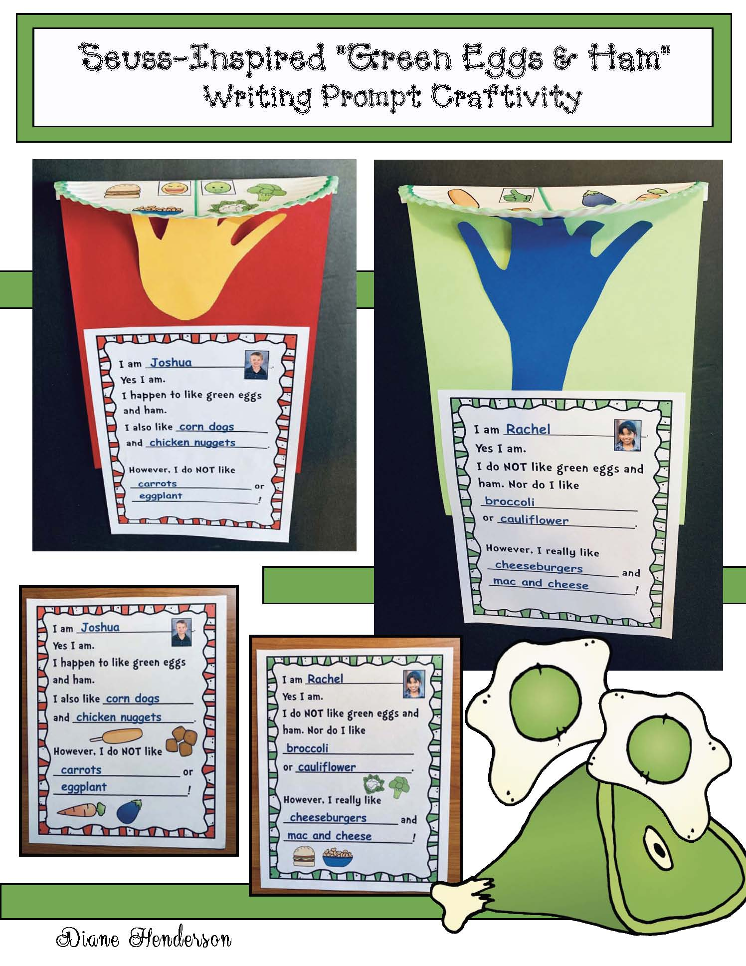 dr. seuss activities, dr. seuss crafts, green eggs and ham activities, green eggs and ham crafts, march writing prompts, read across america bulletin boards, seuss bulletin boards, seuss writing prompts