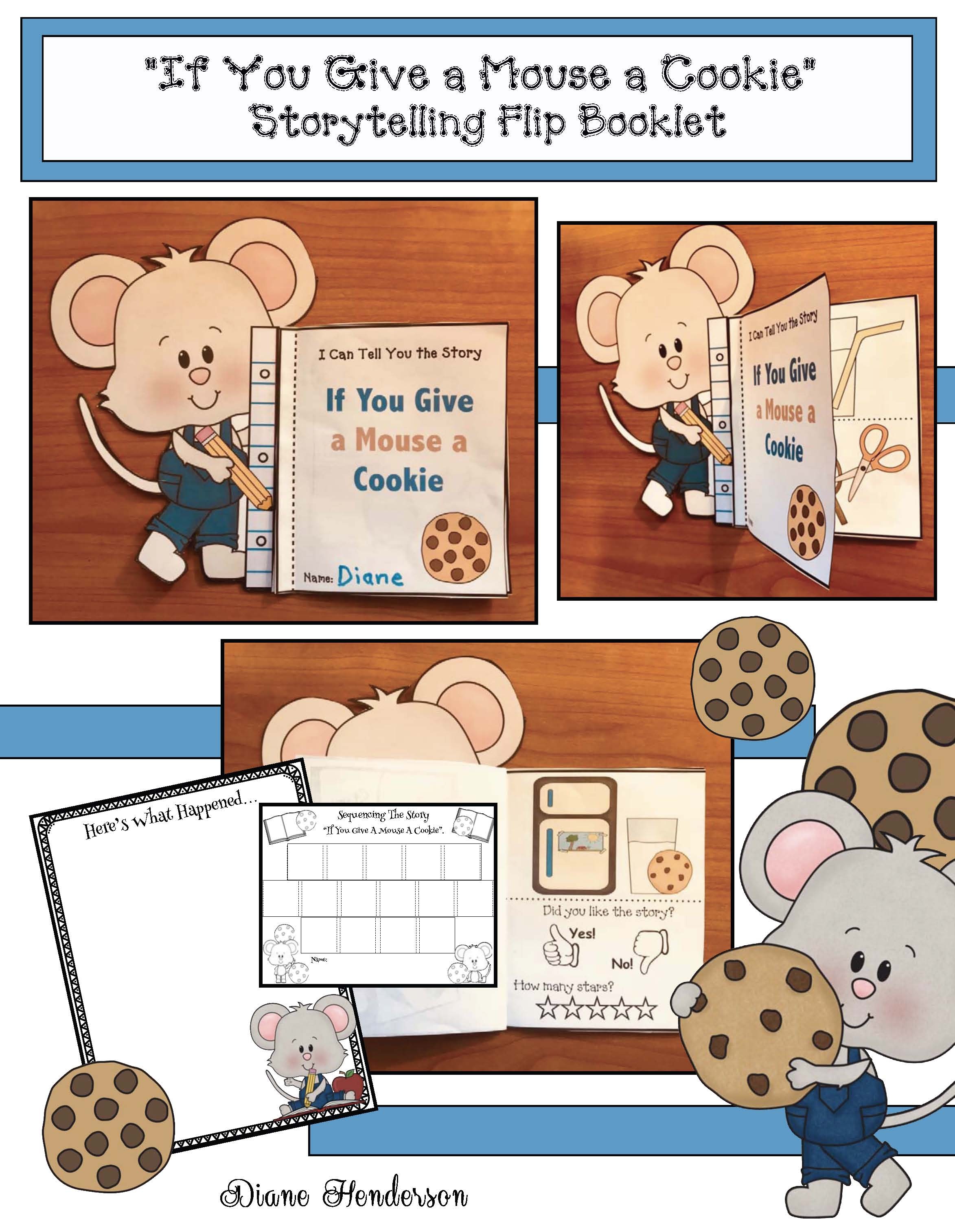If you give a mouse a cookie activities, mice crafts, mouse craft, retelling a story activities, sequencing a story activities, activities for Laura Numeroff bookls