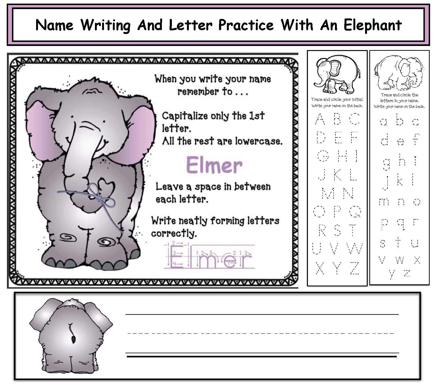 Elmer activities, name writing activities, elephant activities, name cards,