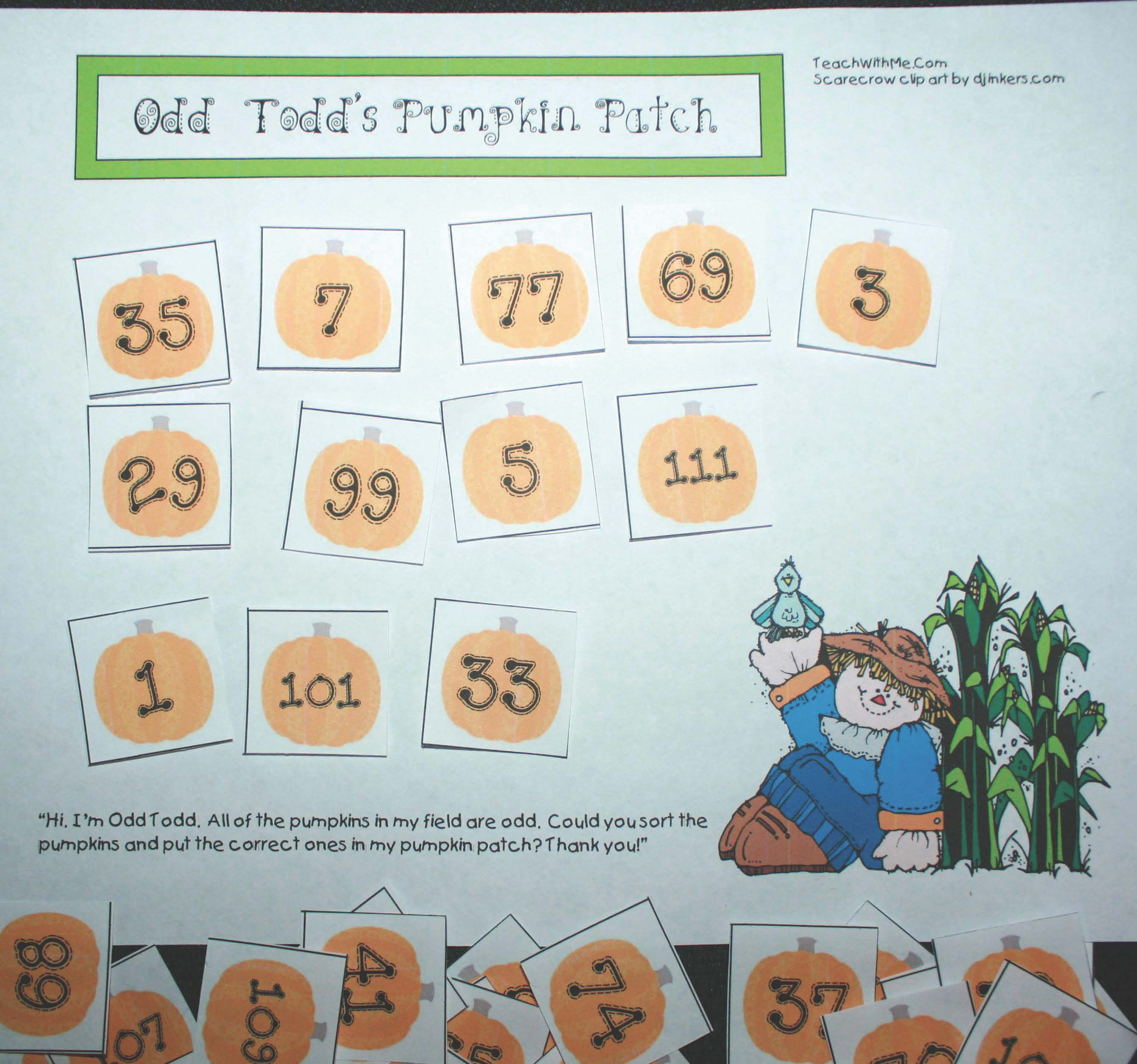 scarecrow activities, pumpkin activities, common core scarecrows, common core pumpkins, odd and even number activities, math games, math centers, fall math games, fall math centers, sorting activities, odd and even sorting activities,