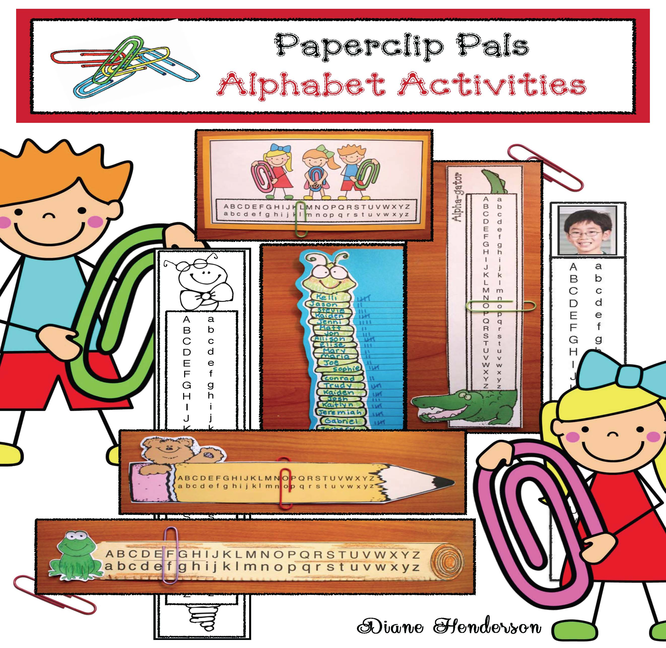 paperclip alphabet pals, alphabet bookmarks, alphabet assessments, alphabet games, alphabet crafts, alphabet centers, alphabet posters, alphabet activities