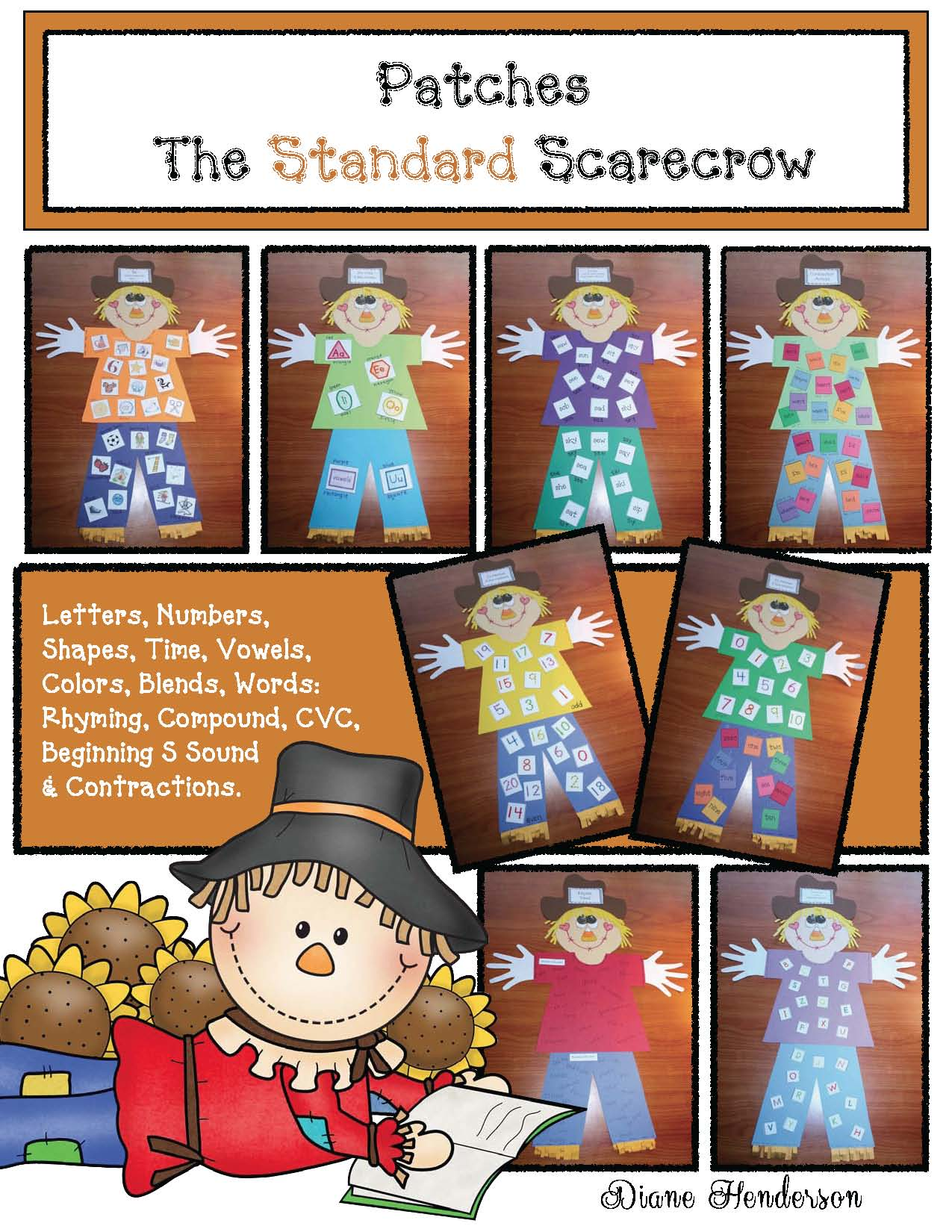 common core scarecrow craft with free pumpkin patch cards