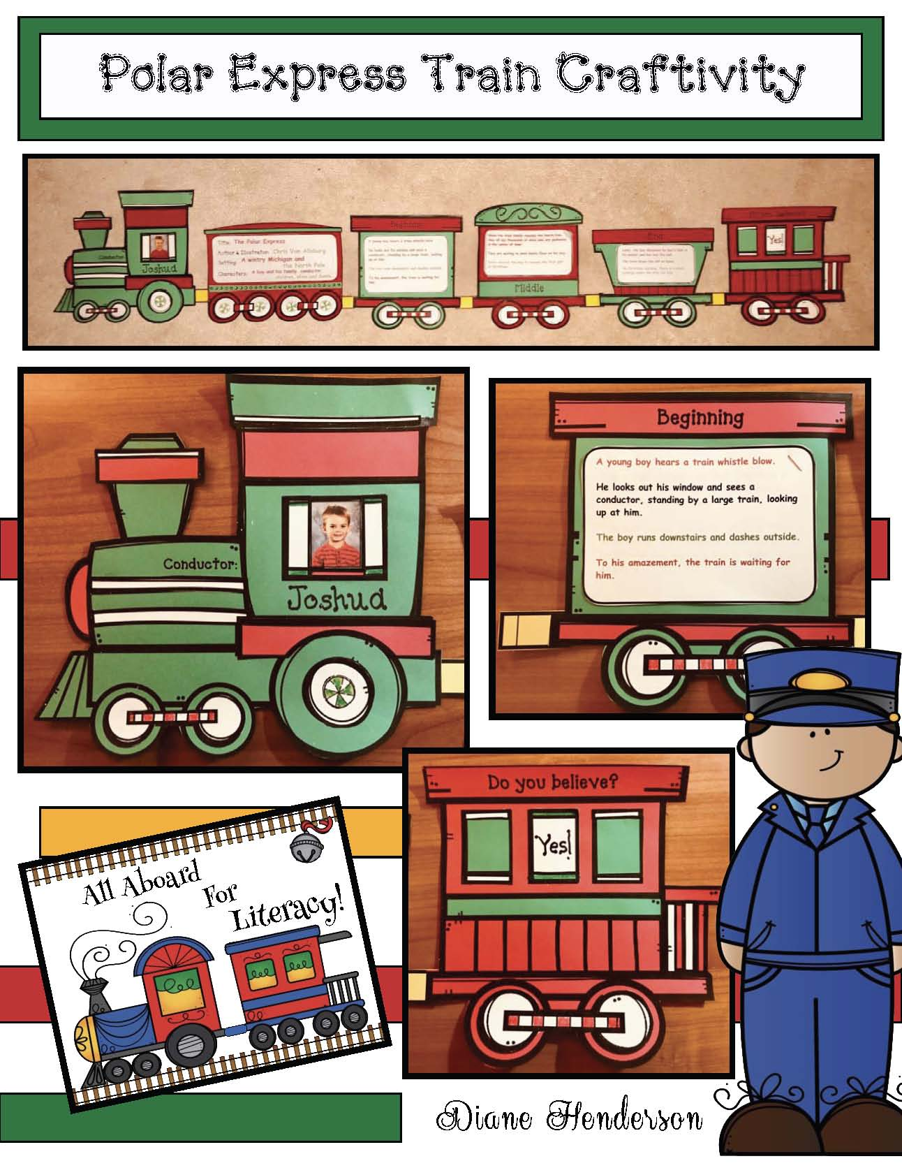 polar express crafts, polar express activities, literacy centers for the polar express, train crafts, retelling a story activities, sequencing a story activities, winter bulletin boards, Christmas bulletin boards,