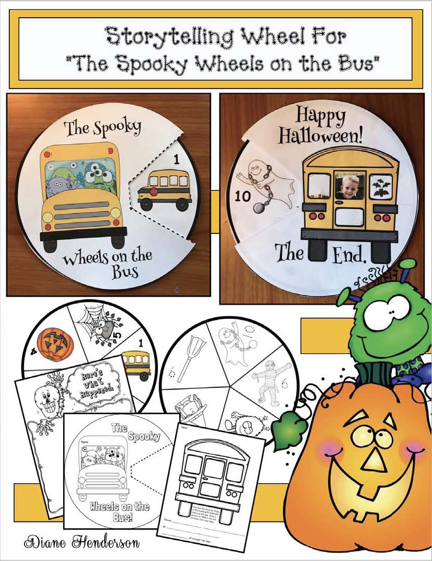 storytelling wheels, halloween activities, halloween songs, halloween books, halloween stories, halloween crafts, the spooky wheels on the bus story, activities to go with the spooky wheels on the bus
