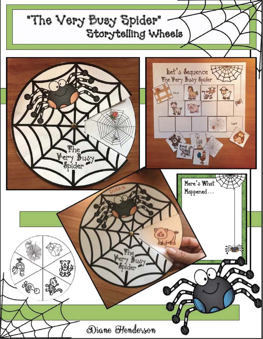 activities for the very busy spider, spider activities, spider crafts, eric carle's the very busy spider, eric carle activities, sequencing a story activities, retelling a story activities