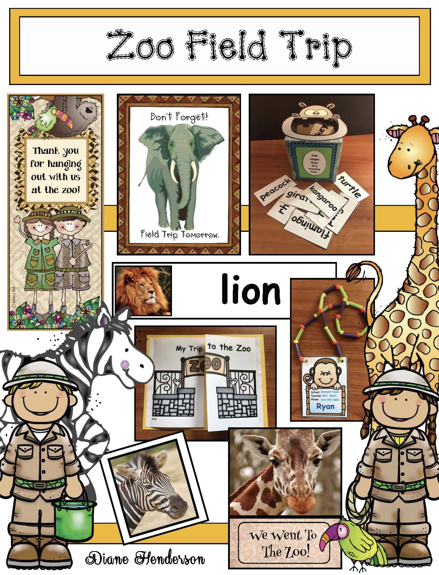 zoo activities, animal activities, field trip tips, zoo field trip, activites for after a field trip, field trip checklist, animal writing prompts, zoo writing prompts, name tags for school, animal bulletin board ideas